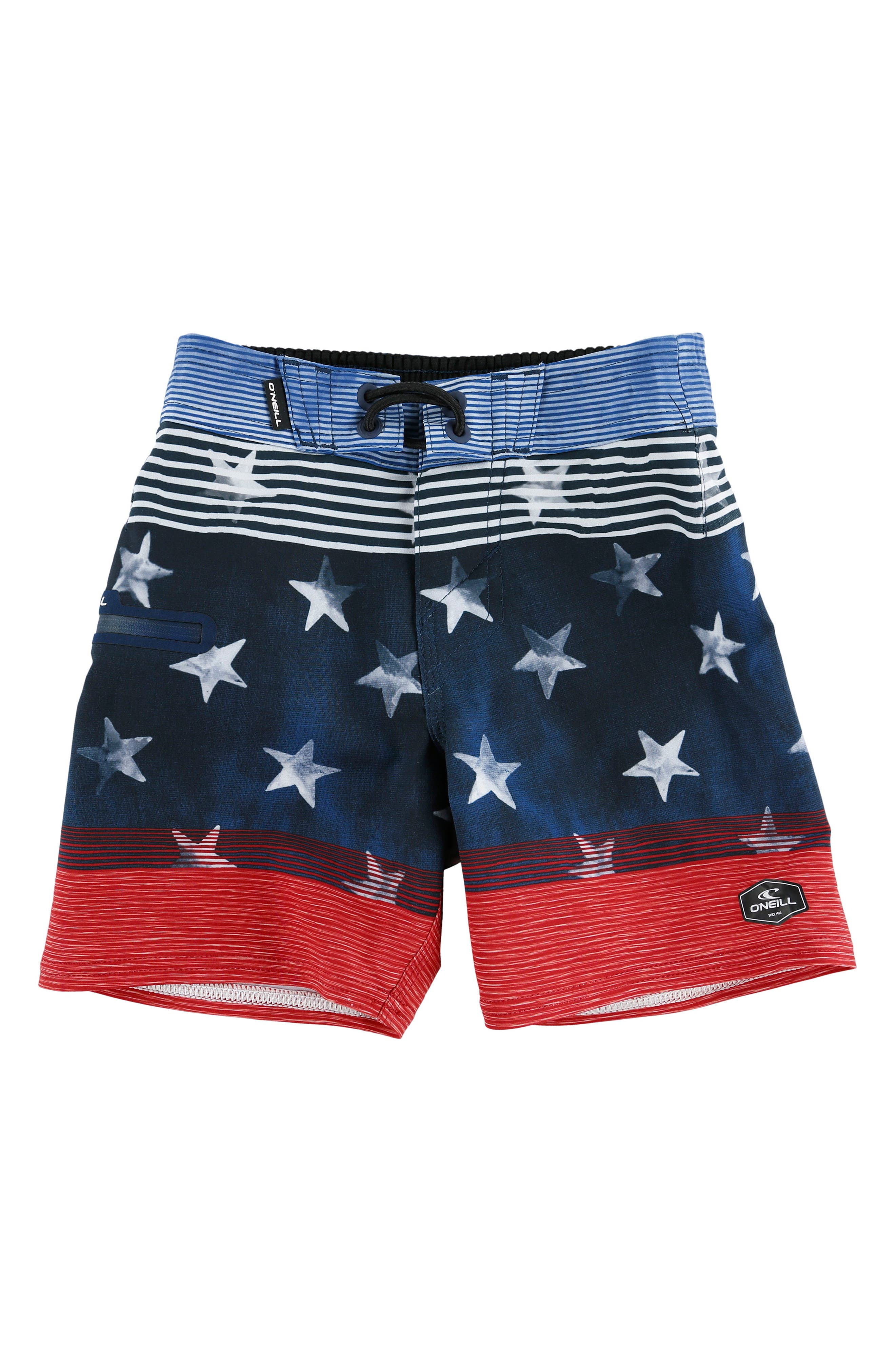 Hyperfreak Board Shorts,                         Main,                         color, Red White Blue