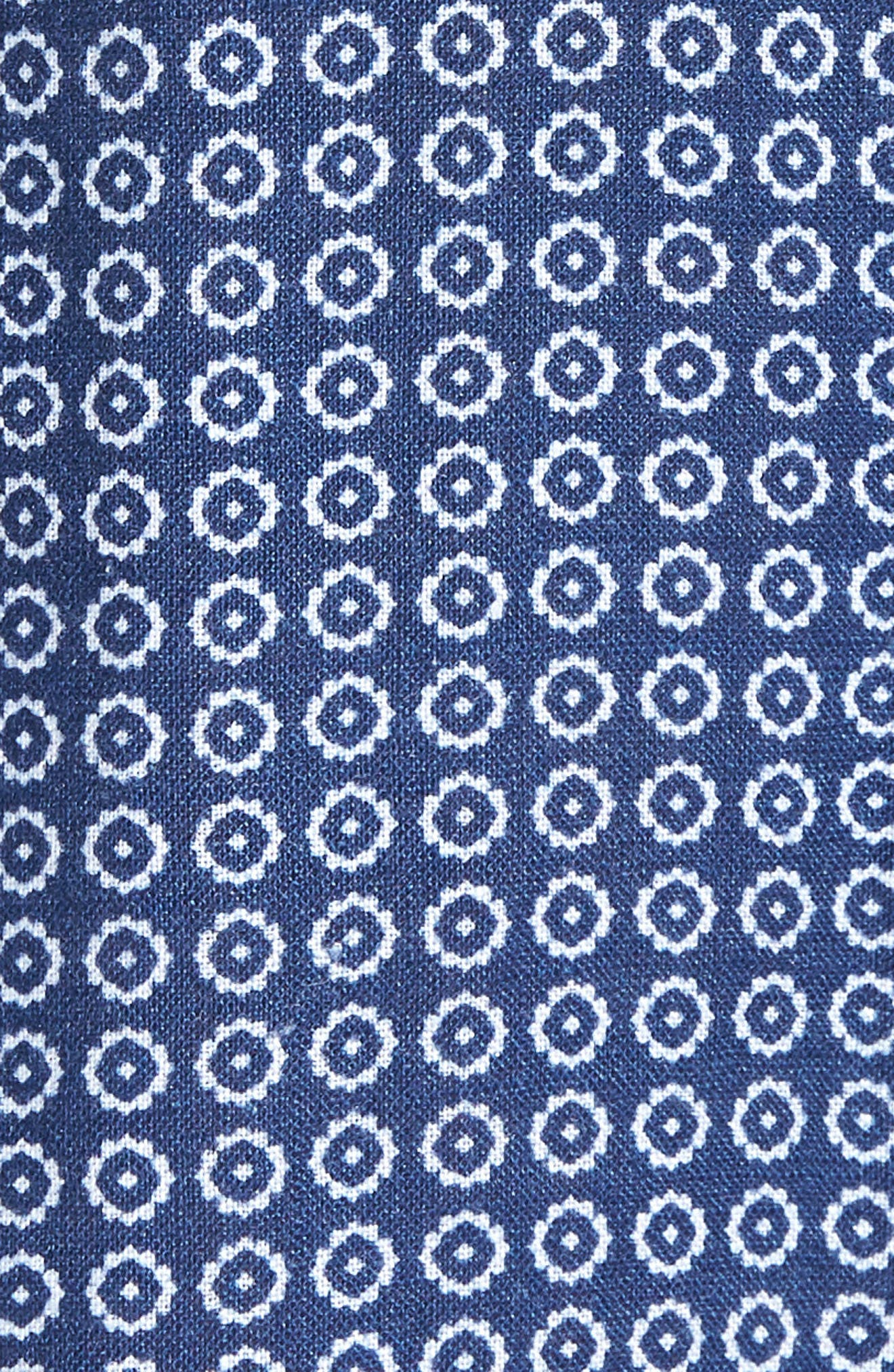 Windham Print Classic Fit Linen Sport Shirt,                             Alternate thumbnail 5, color,                             Navy