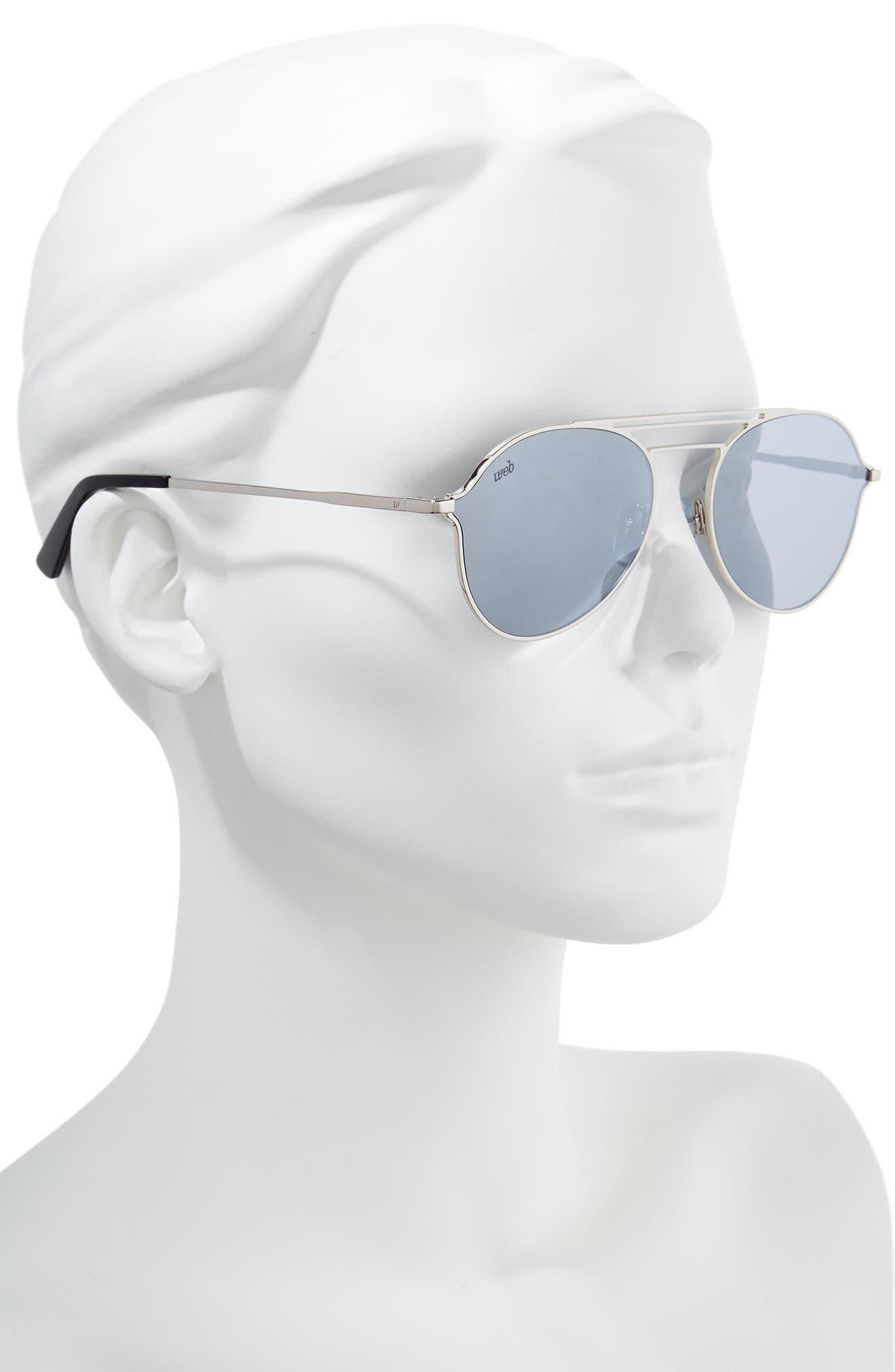 56mm Aviator Sunglasses,                             Alternate thumbnail 2, color,                             Shiny Palladium/ Smoke Mirror