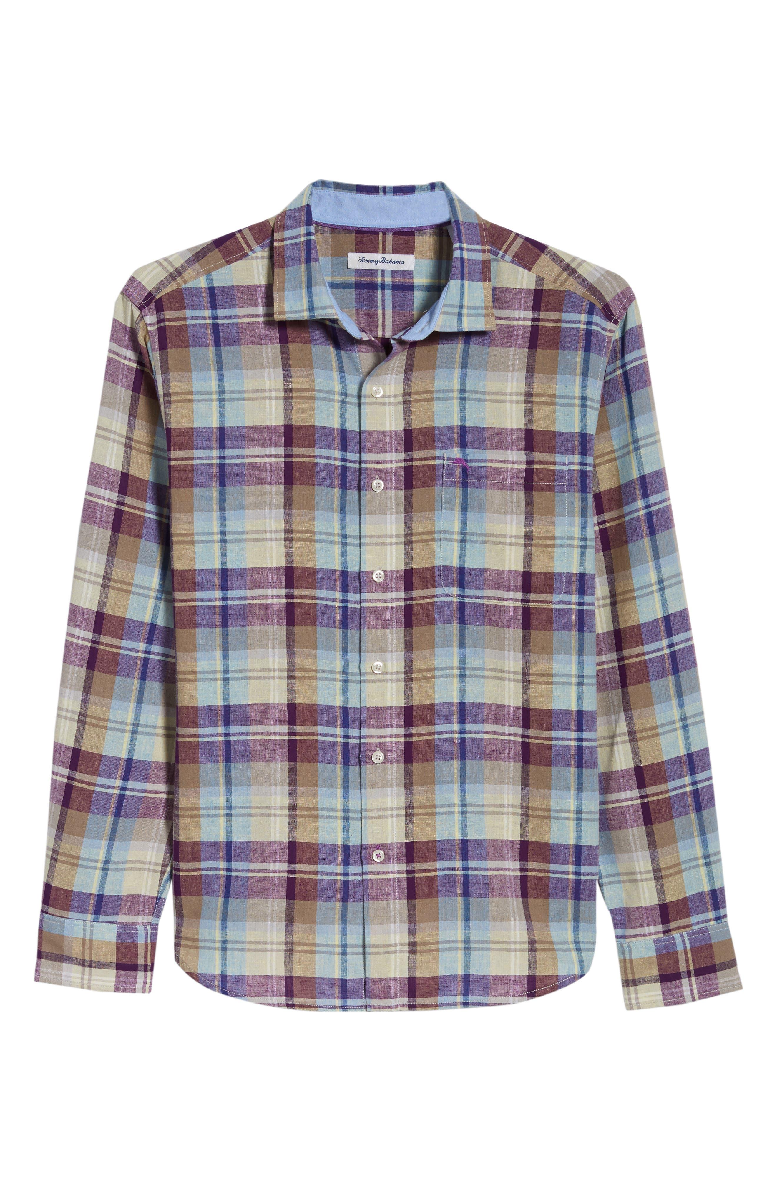 La Paz Plaid Linen Blend Sport Shirt,                             Alternate thumbnail 6, color,                             Sparkling Grape