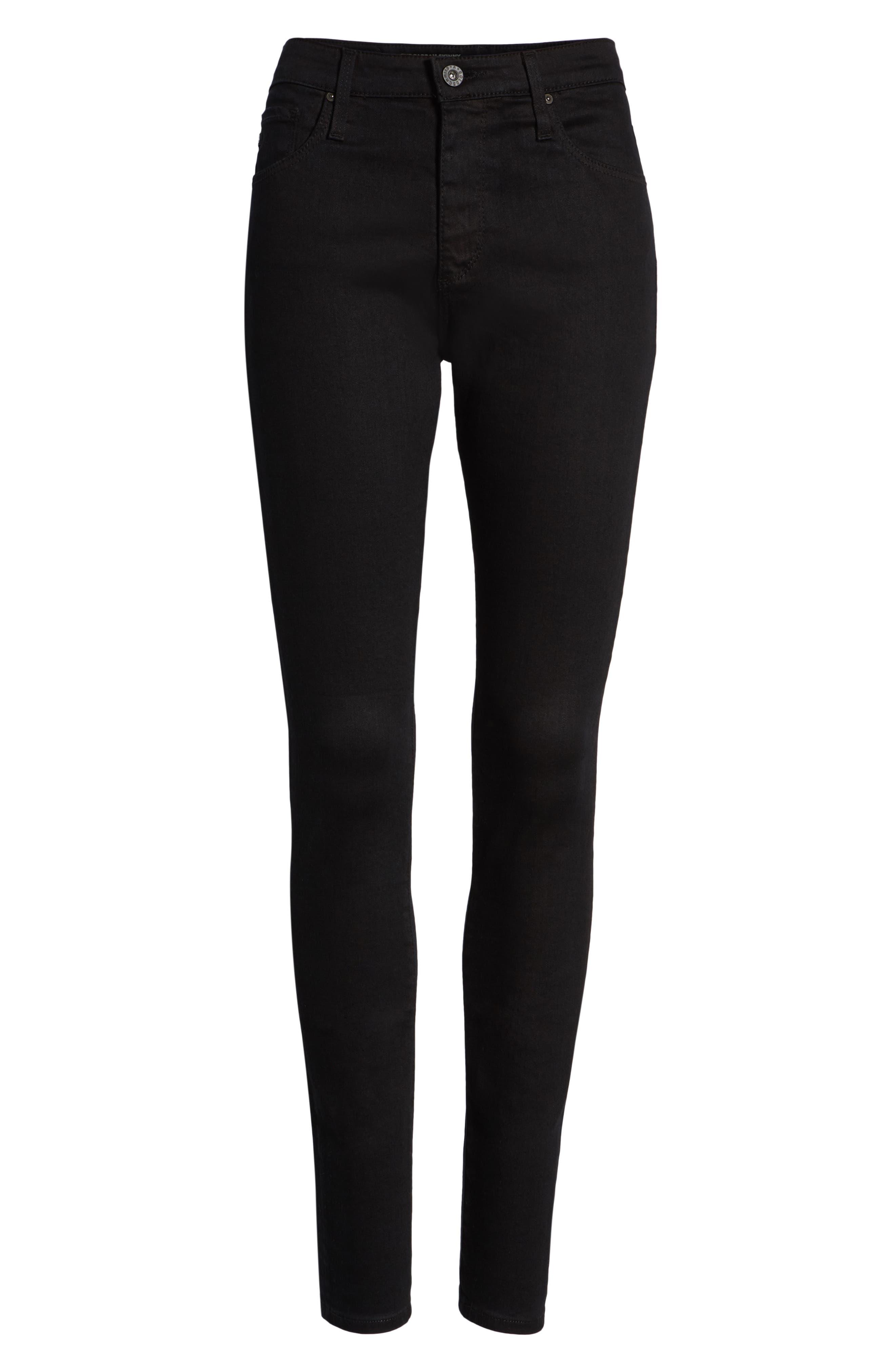 'The Farrah' High Rise Skinny Jeans,                             Alternate thumbnail 7, color,                             Overdyed Black