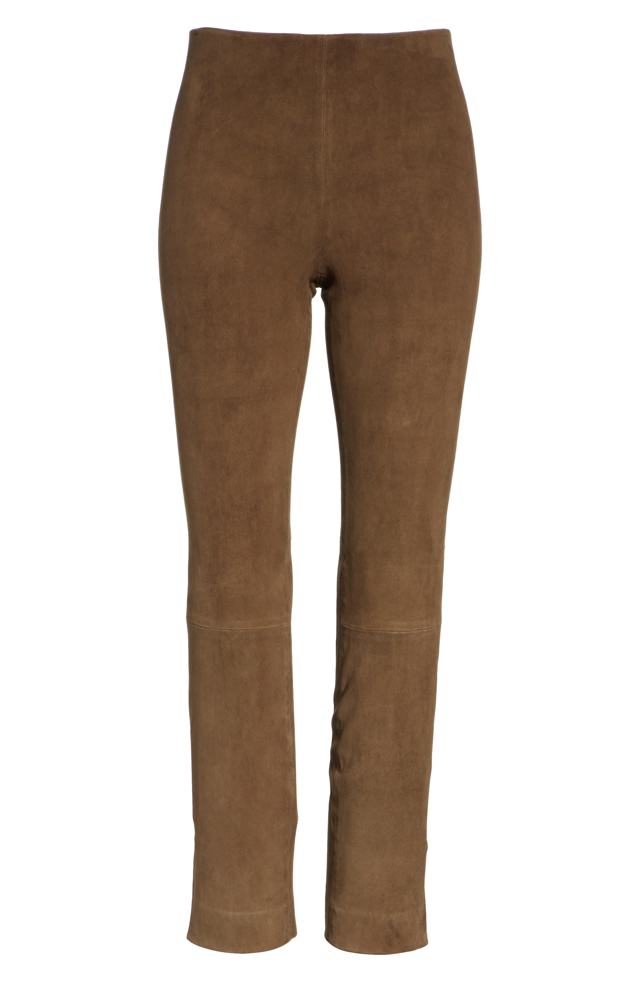 Stretch Suede Split Hem Crop Pants,                             Alternate thumbnail 6, color,                             Elmwood