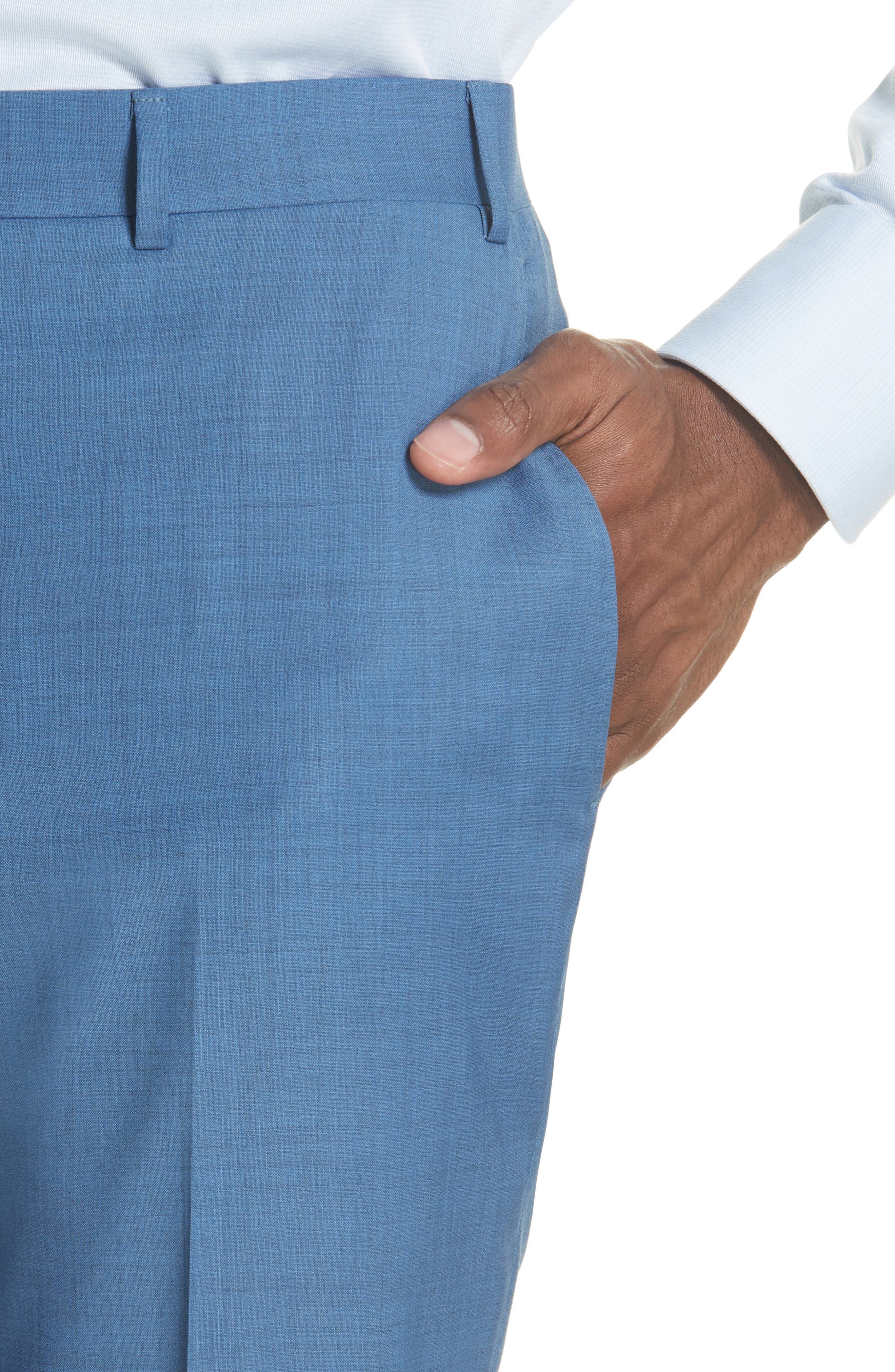 Alternate Image 4  - Canali Kei Flat Front Solid Wool Trousers