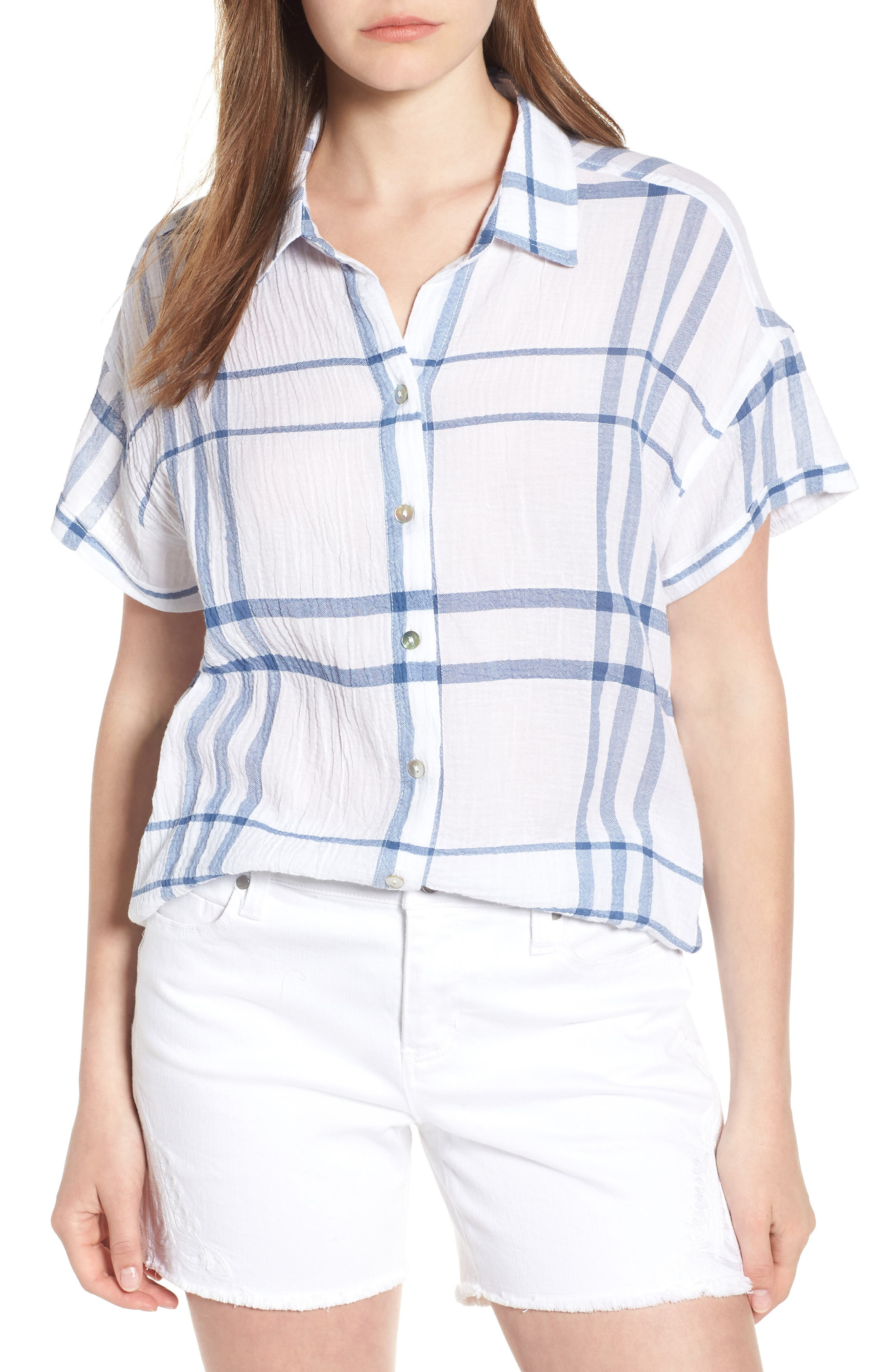 Liverpool Jeans Company Crinkle Cotton Short Sleeve Blouse