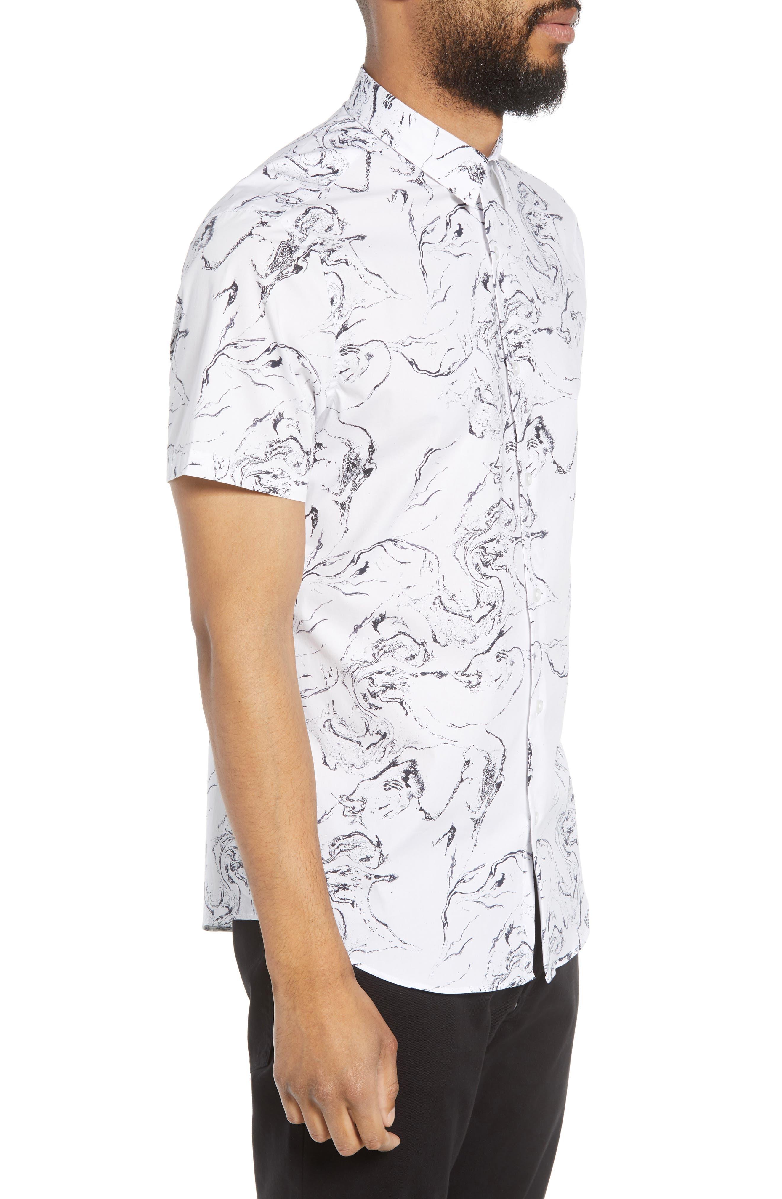 Trim Fit Stretch Print Short Sleeve Sport Shirt,                             Alternate thumbnail 4, color,                             White Marble Print