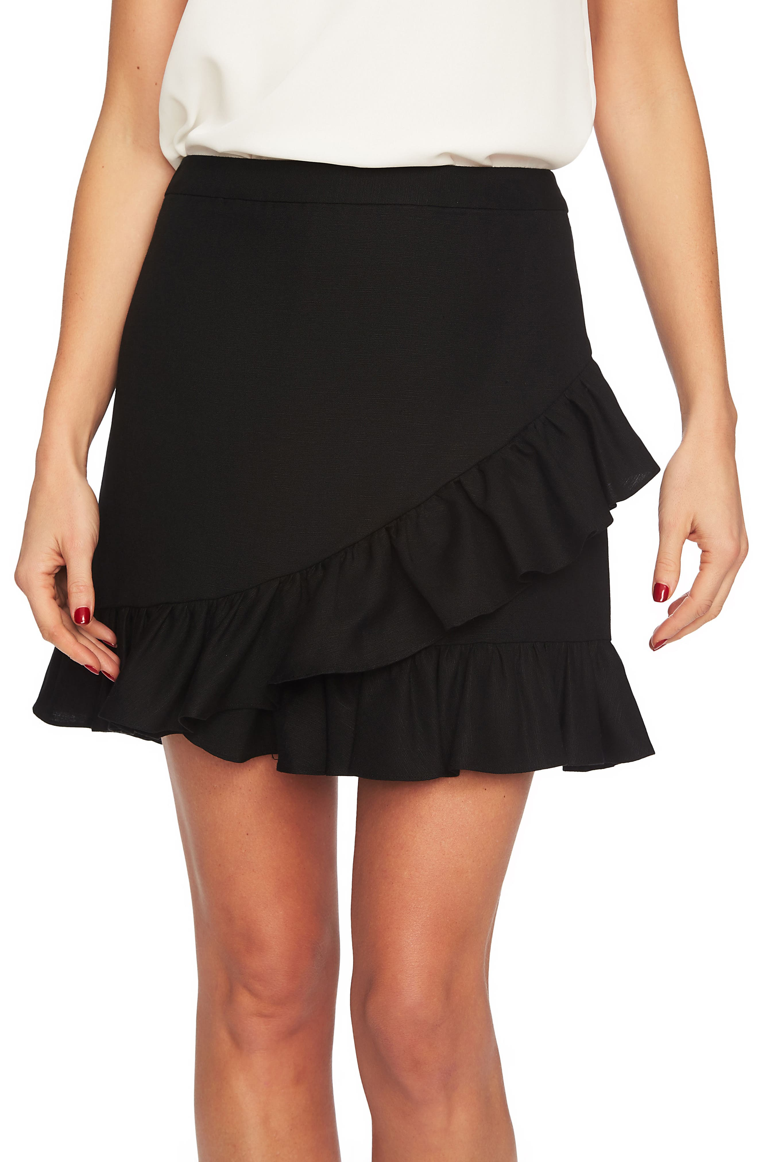 Ruffle Miniskirt,                             Main thumbnail 1, color,                             Rich Black