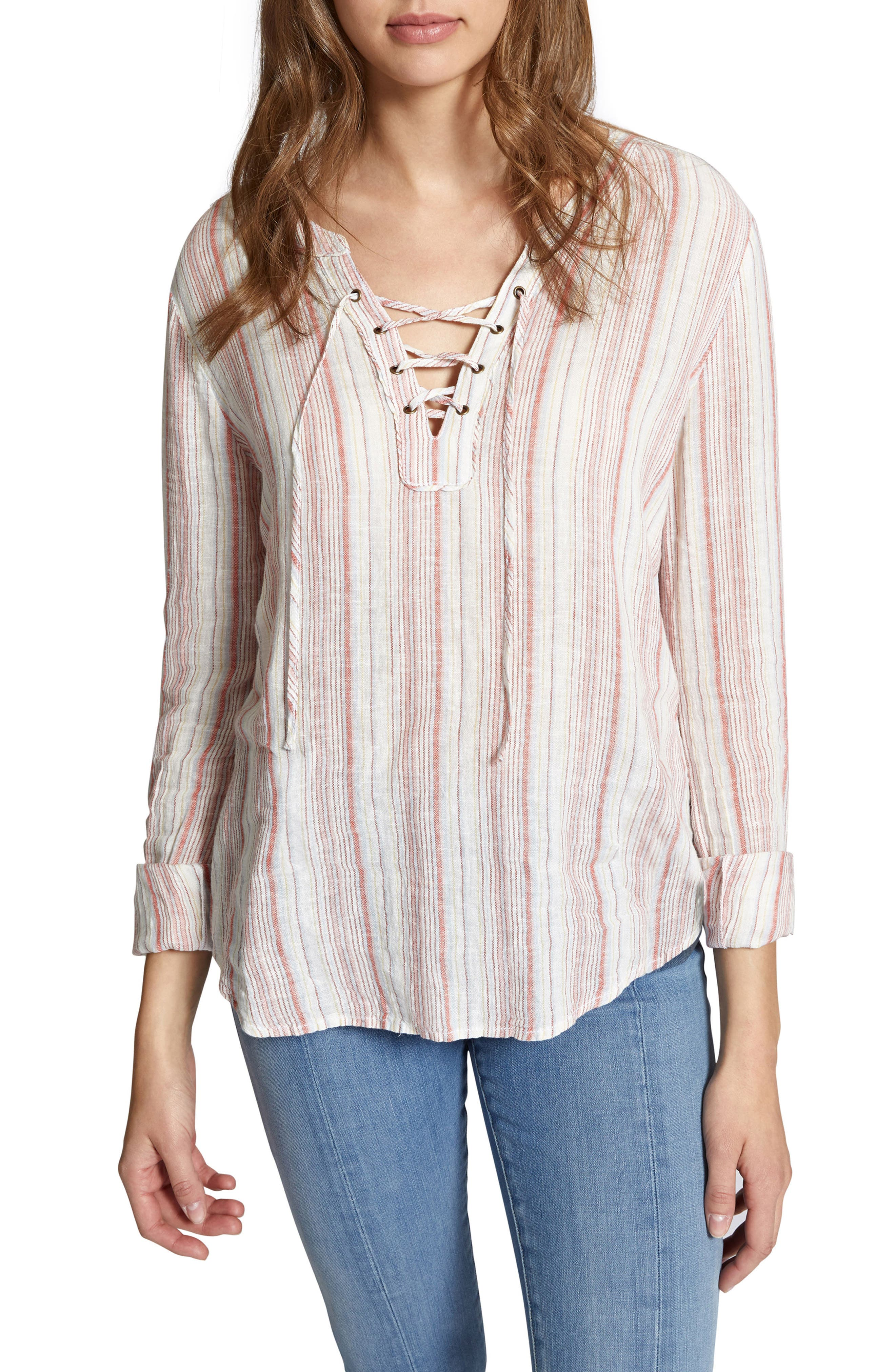 Tommie Lace-Up Stripe Shirt,                             Main thumbnail 1, color,                             Desert Stripe