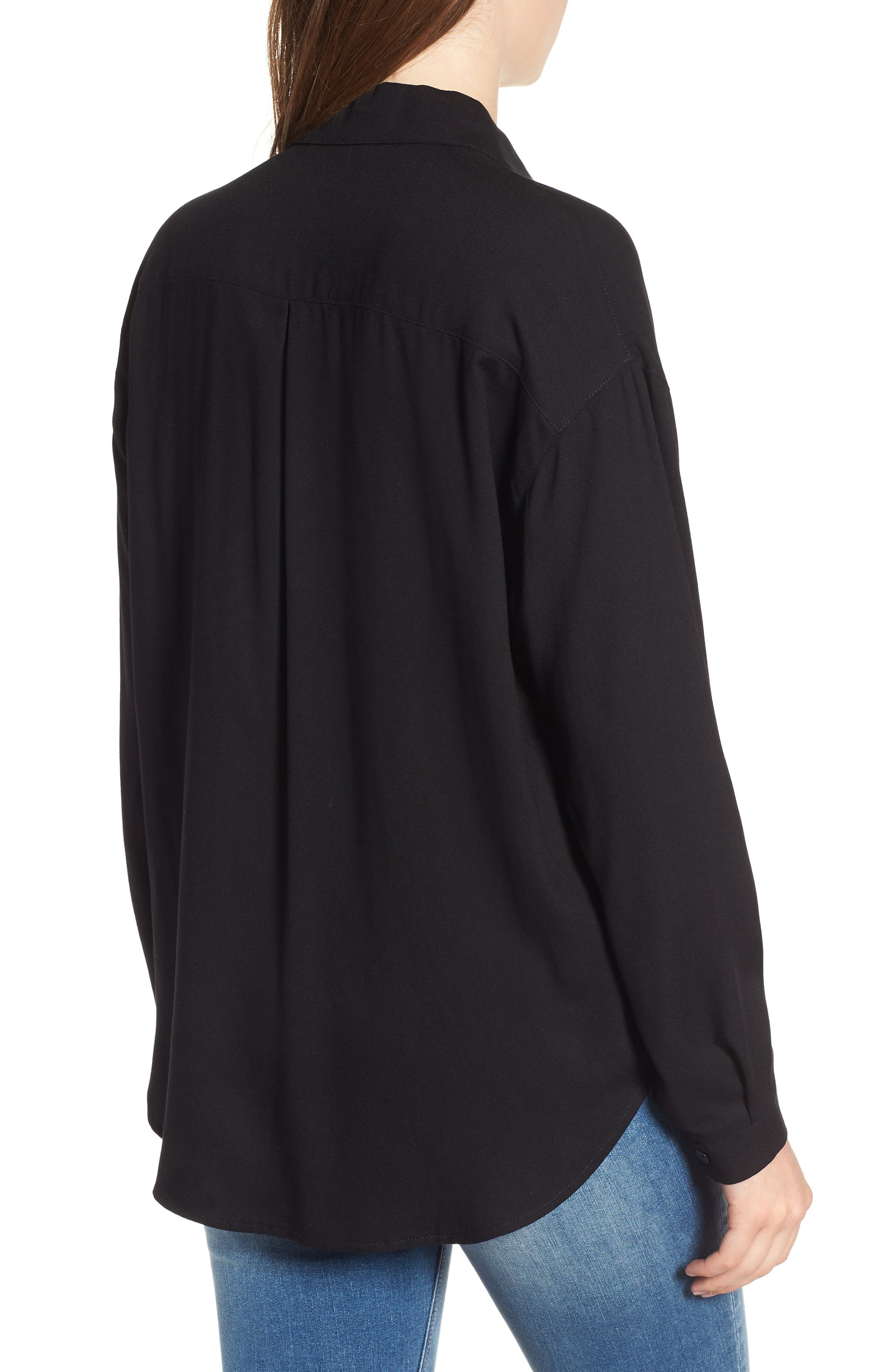 Slouchy Pocket Henley,                             Alternate thumbnail 2, color,                             Solid Black