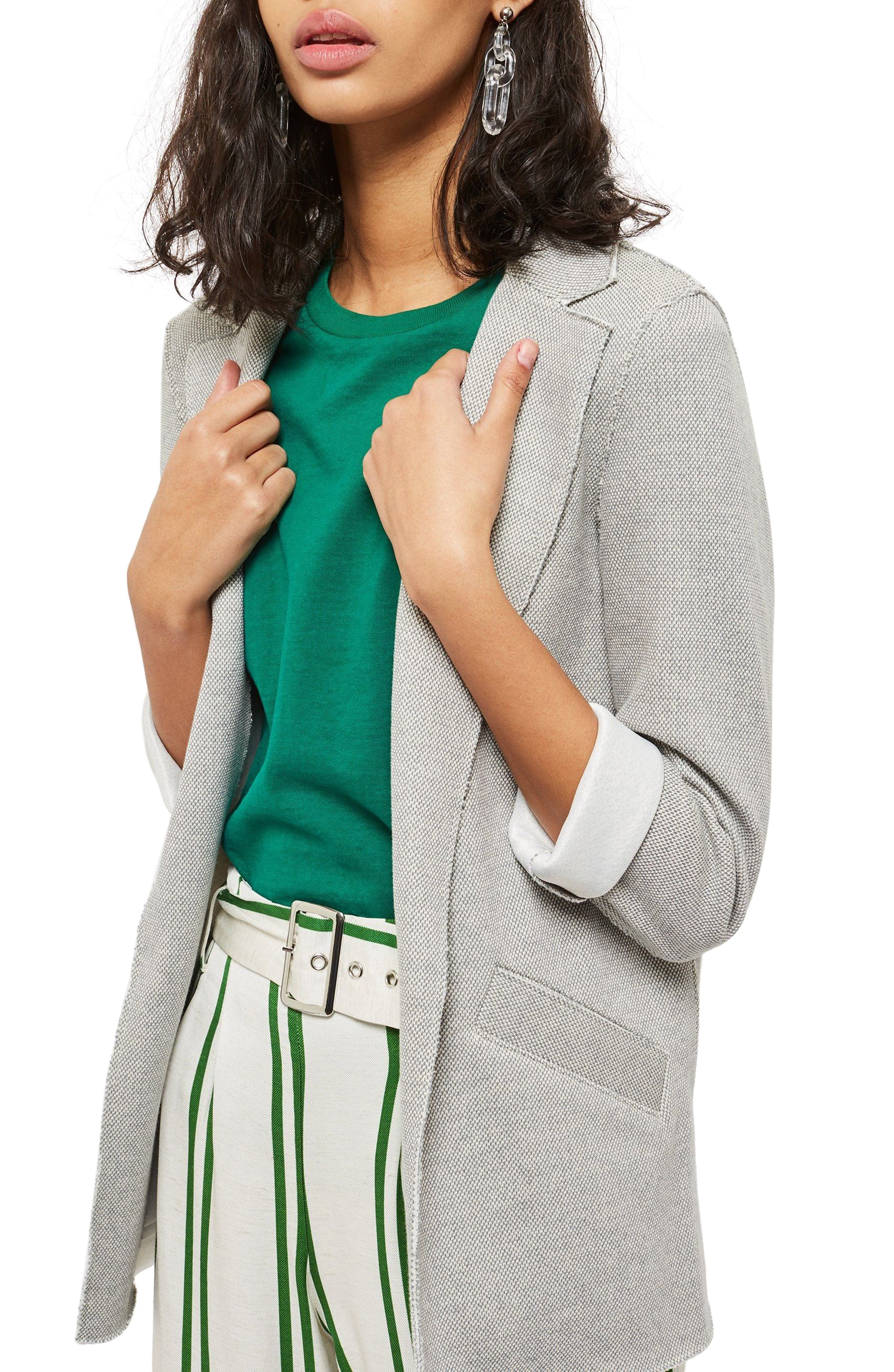 Deconcrusted Jersey Blazer,                             Alternate thumbnail 3, color,                             Grey
