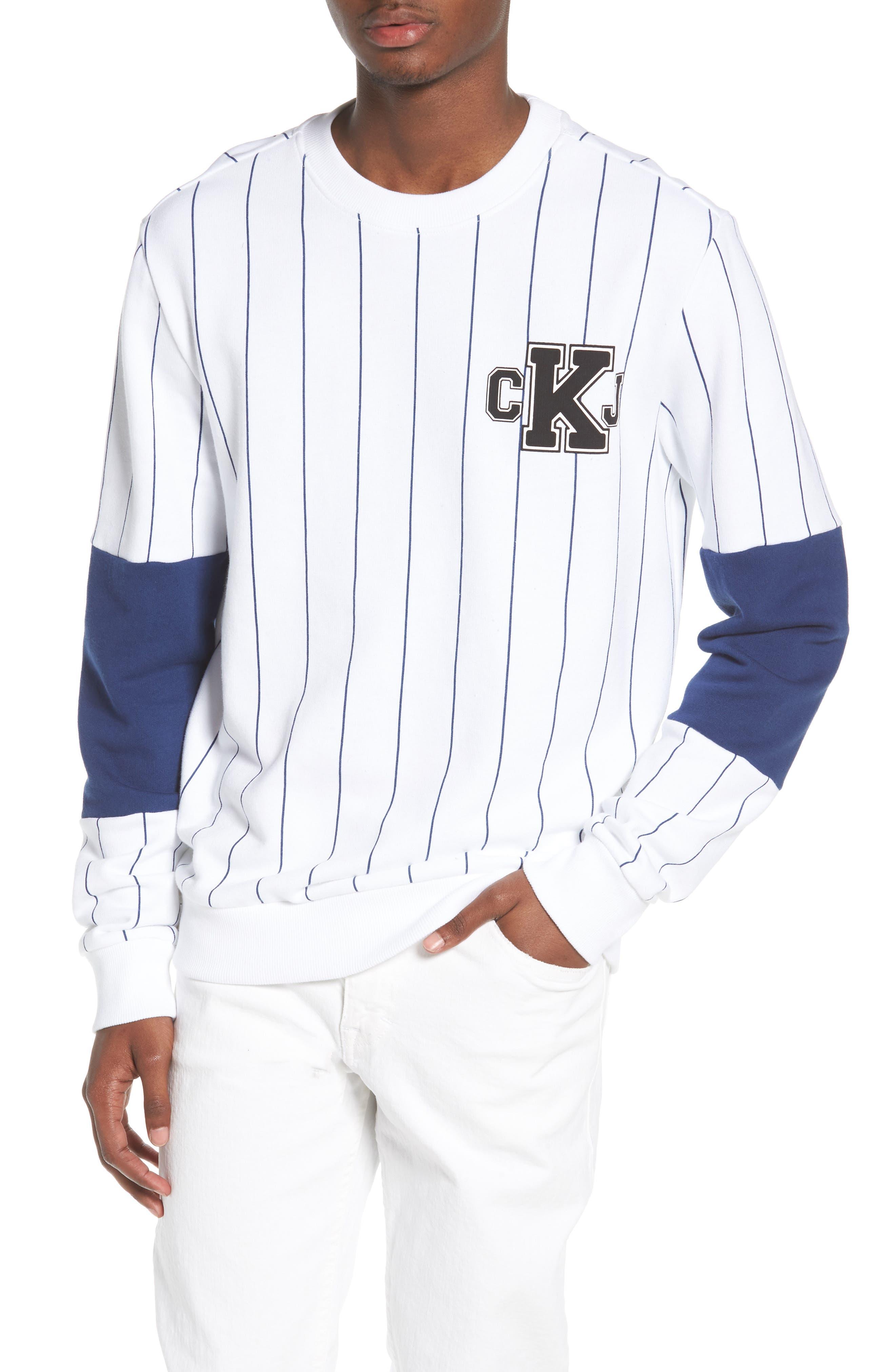 Stripe Blocked Sweatshirt,                             Main thumbnail 1, color,                             Standard White