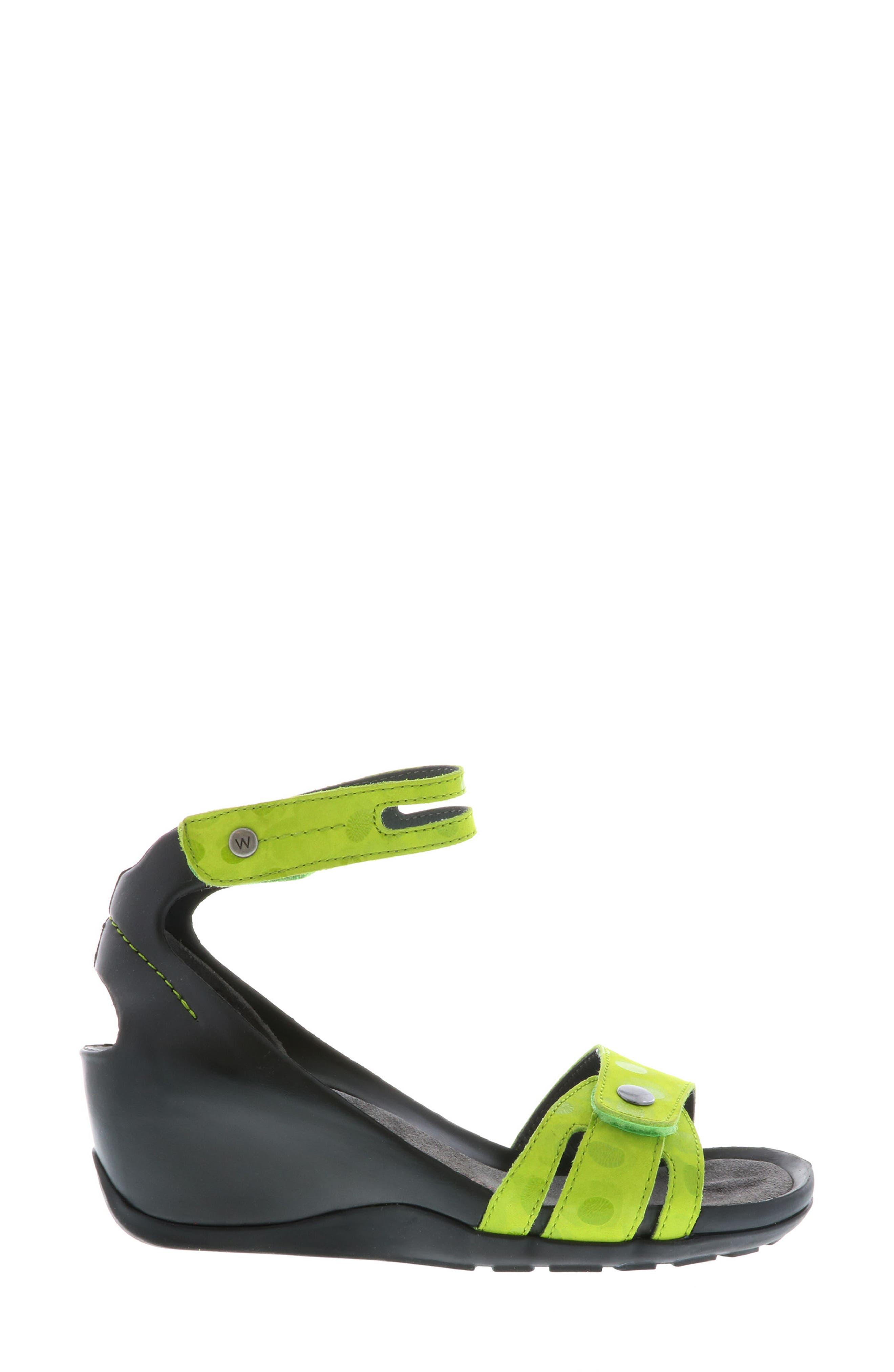 Za Wedge Sandal,                             Alternate thumbnail 3, color,                             Lime Circle Print
