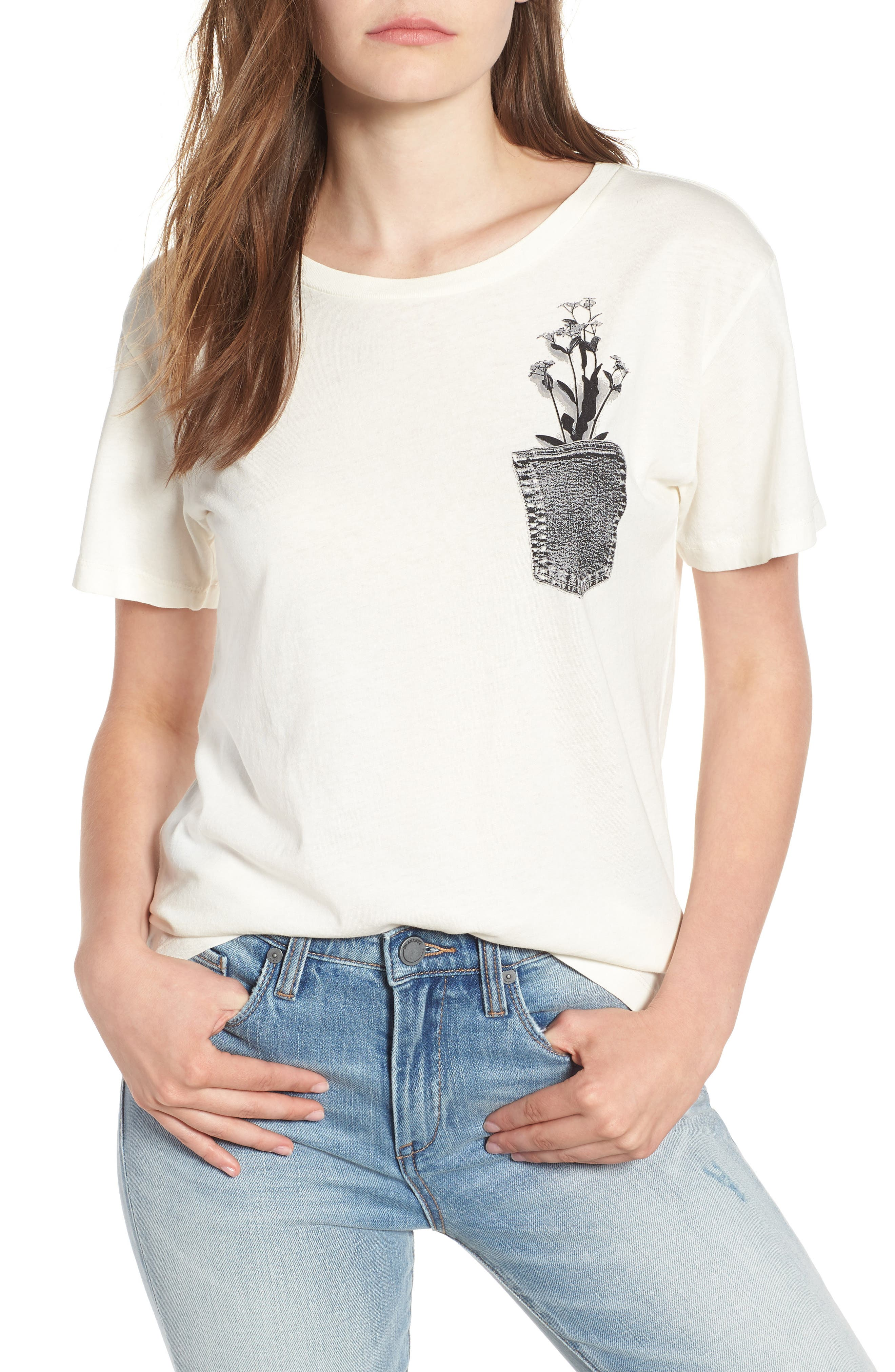 Flower Pocket Tee,                             Main thumbnail 1, color,                             Washed White