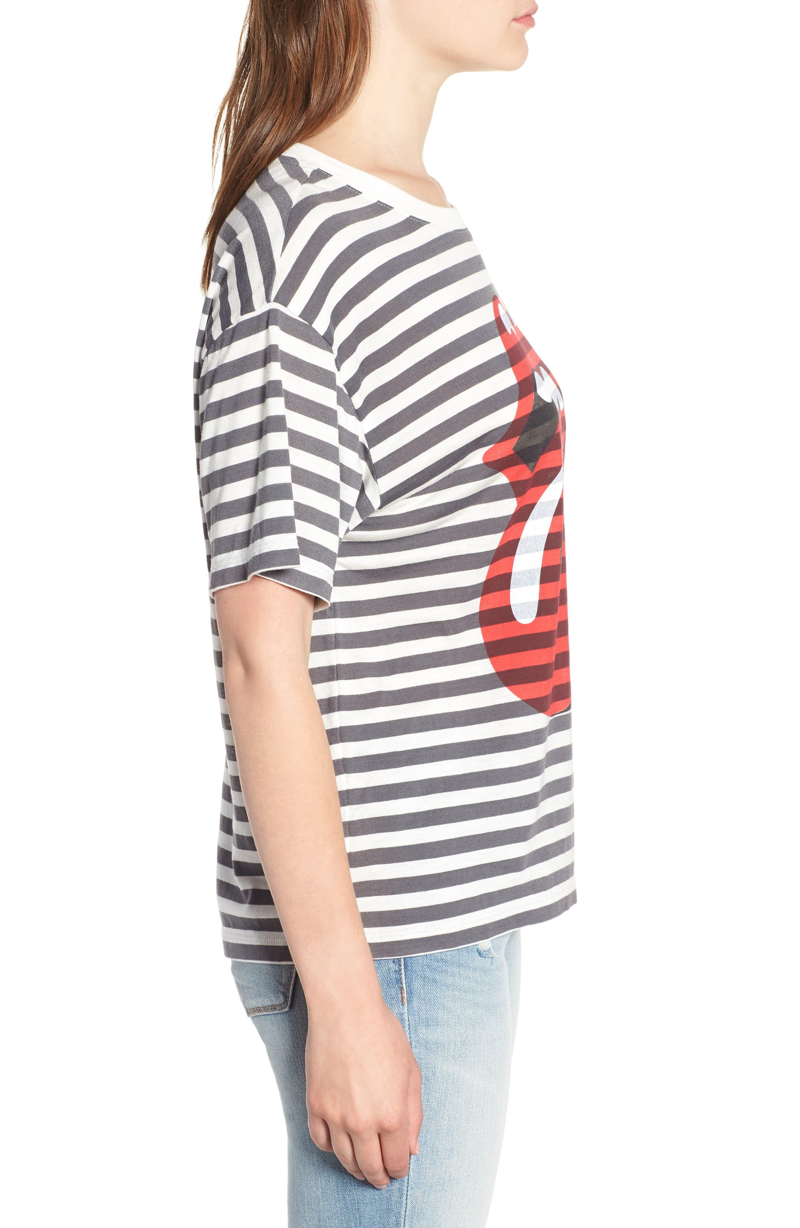 Rolling Stones Stripe Boyfriend Tee,                             Alternate thumbnail 6, color,                             White Stripe