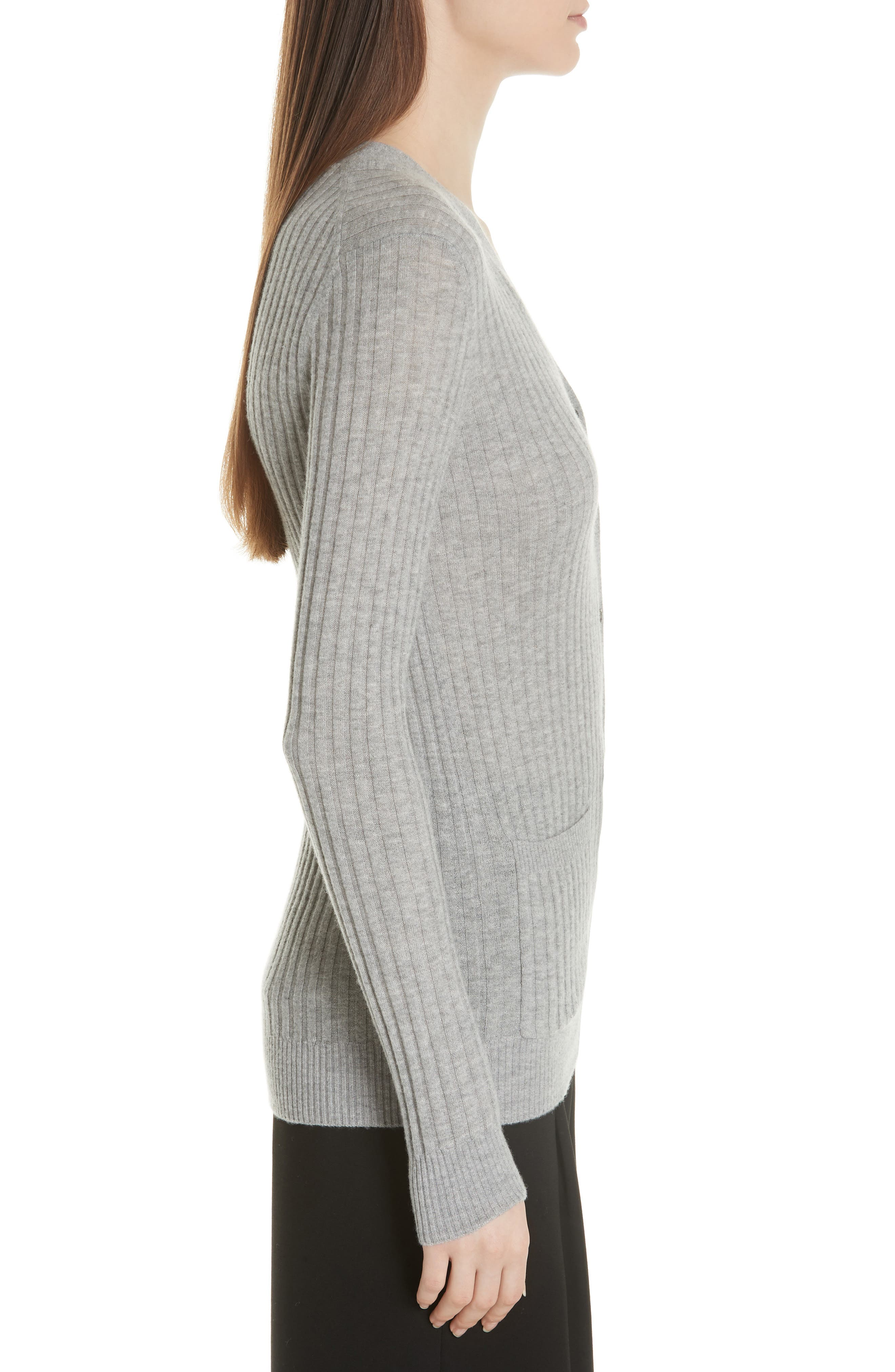 Ribbed Skinny Cashmere Cardigan,                             Alternate thumbnail 3, color,                             H Steel