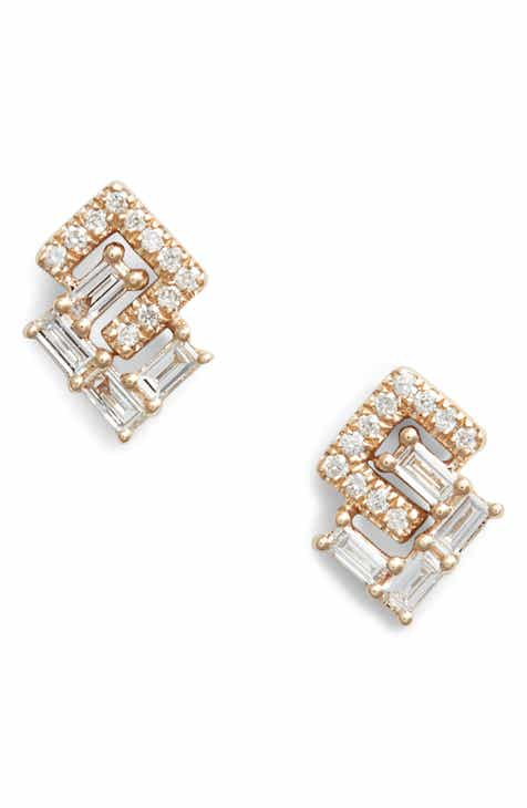 Dana Rebecca Sa Interlock Diamonds Stud Earrings