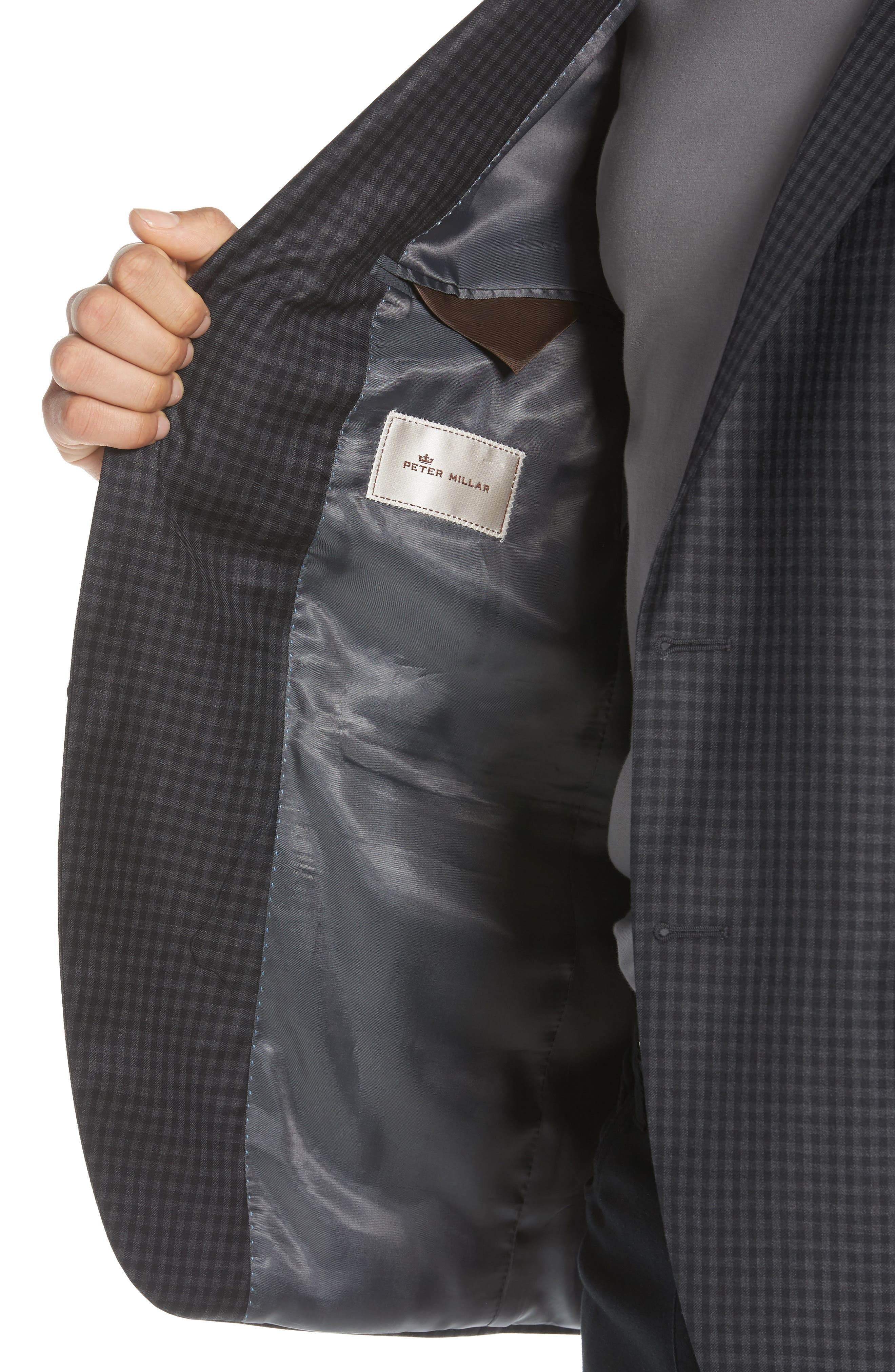 Classic Fit Check Wool Sport Coat,                             Alternate thumbnail 4, color,                             Charcoal