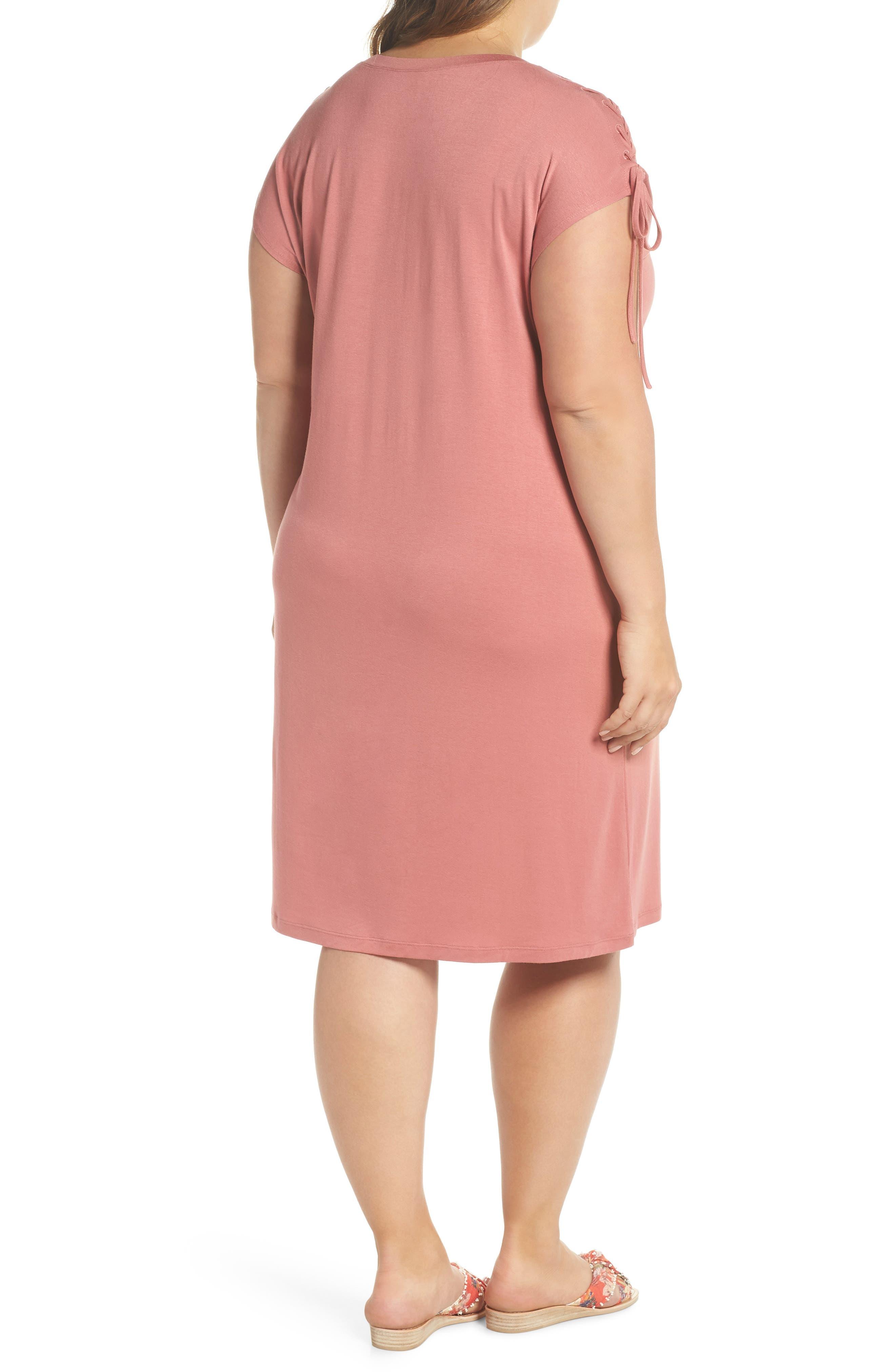 Lace-Up Shoulder T-Shirt Dress,                             Alternate thumbnail 2, color,                             Claret Shadow