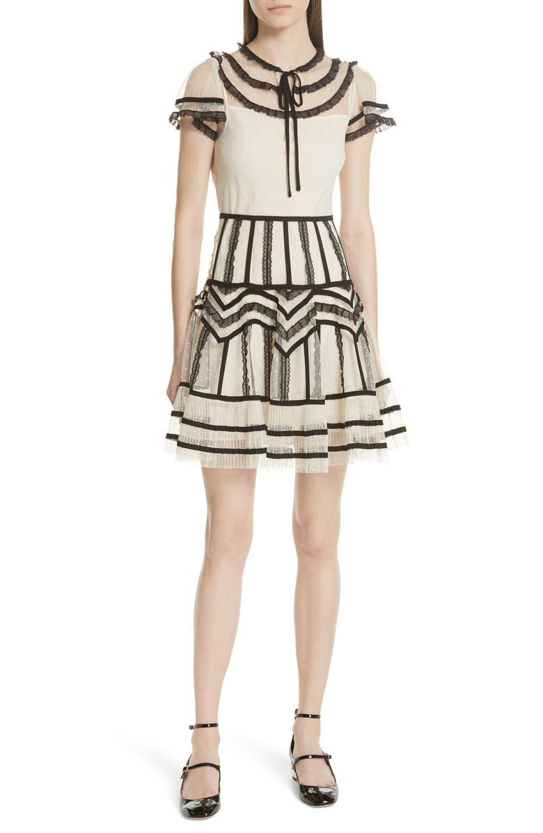 Point dEsprit Ruffle Trim Dress