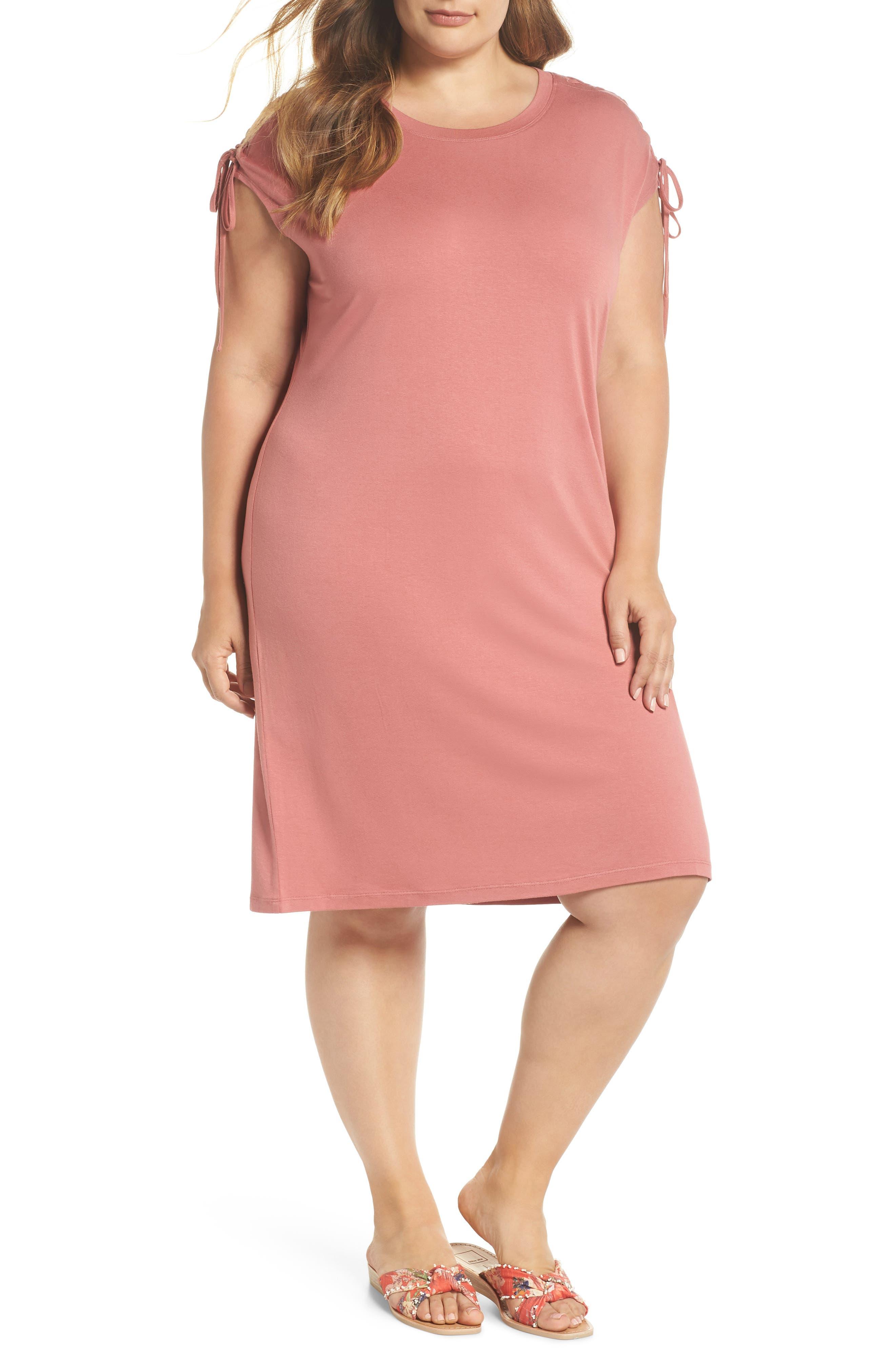 Lace-Up Shoulder T-Shirt Dress,                         Main,                         color, Claret Shadow