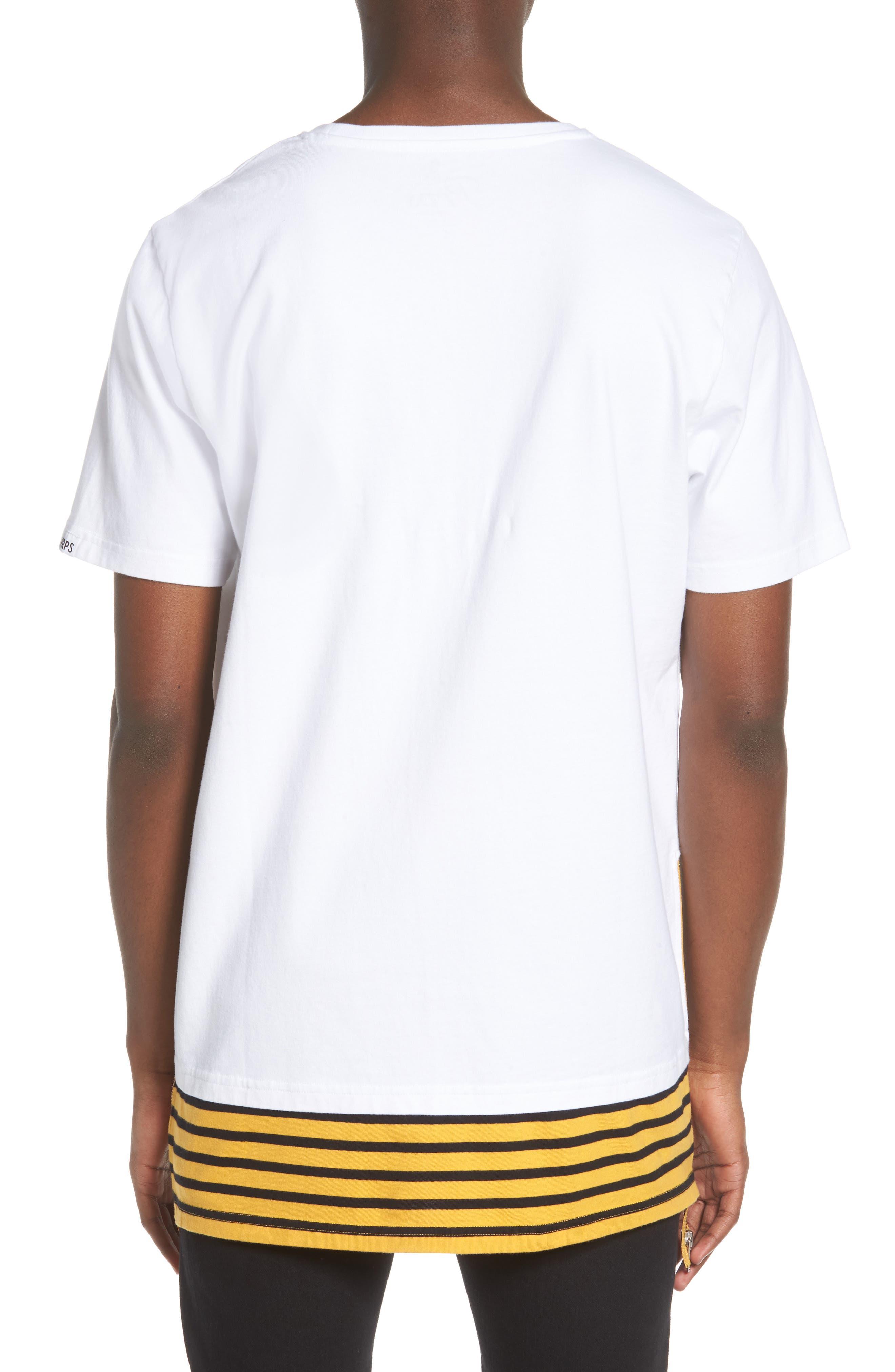 Elongated Stripe Side Zip T-Shirt,                             Alternate thumbnail 2, color,                             White