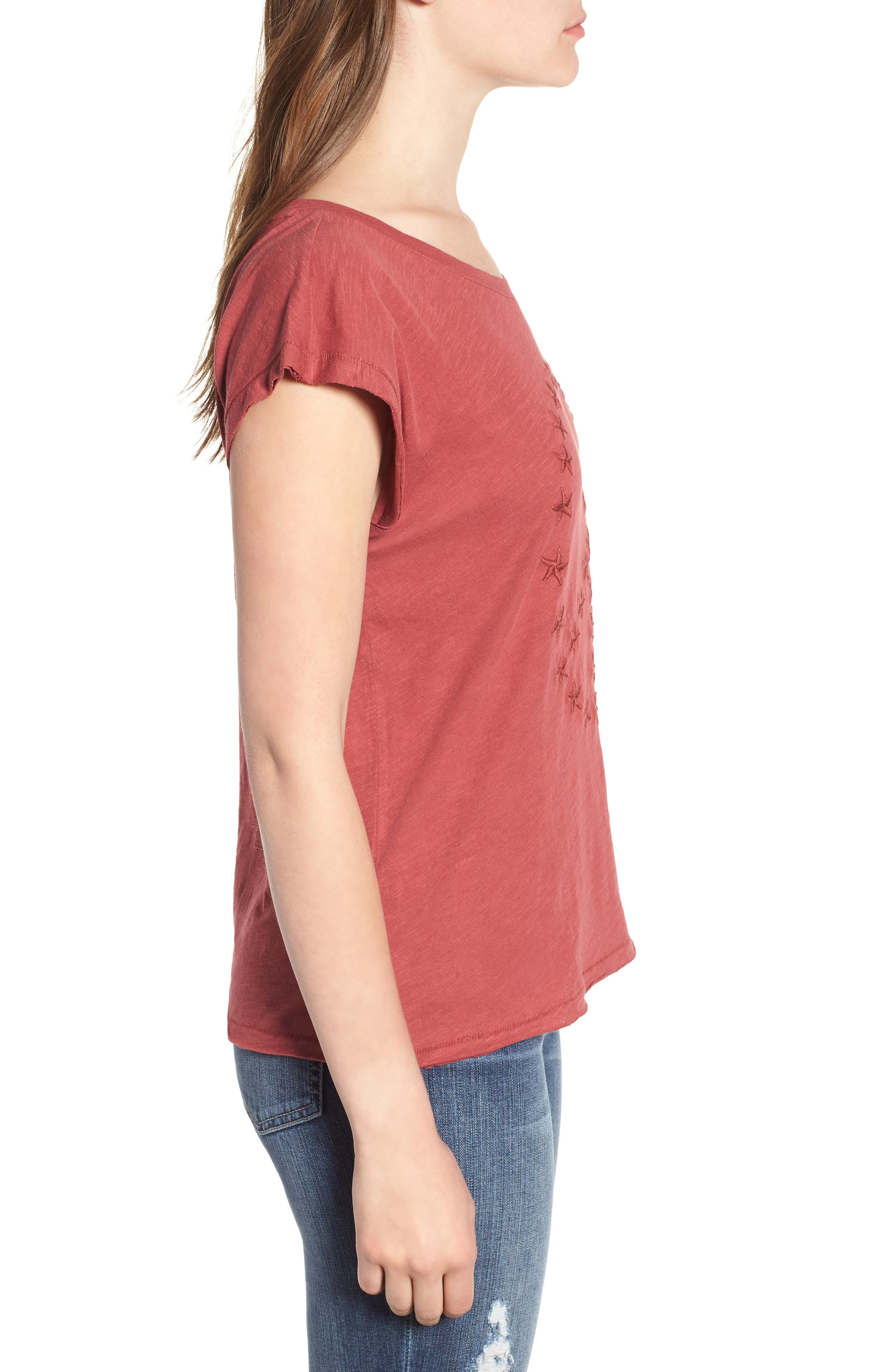Embroidered Peace Sign Tee,                             Alternate thumbnail 3, color,                             Rosewood