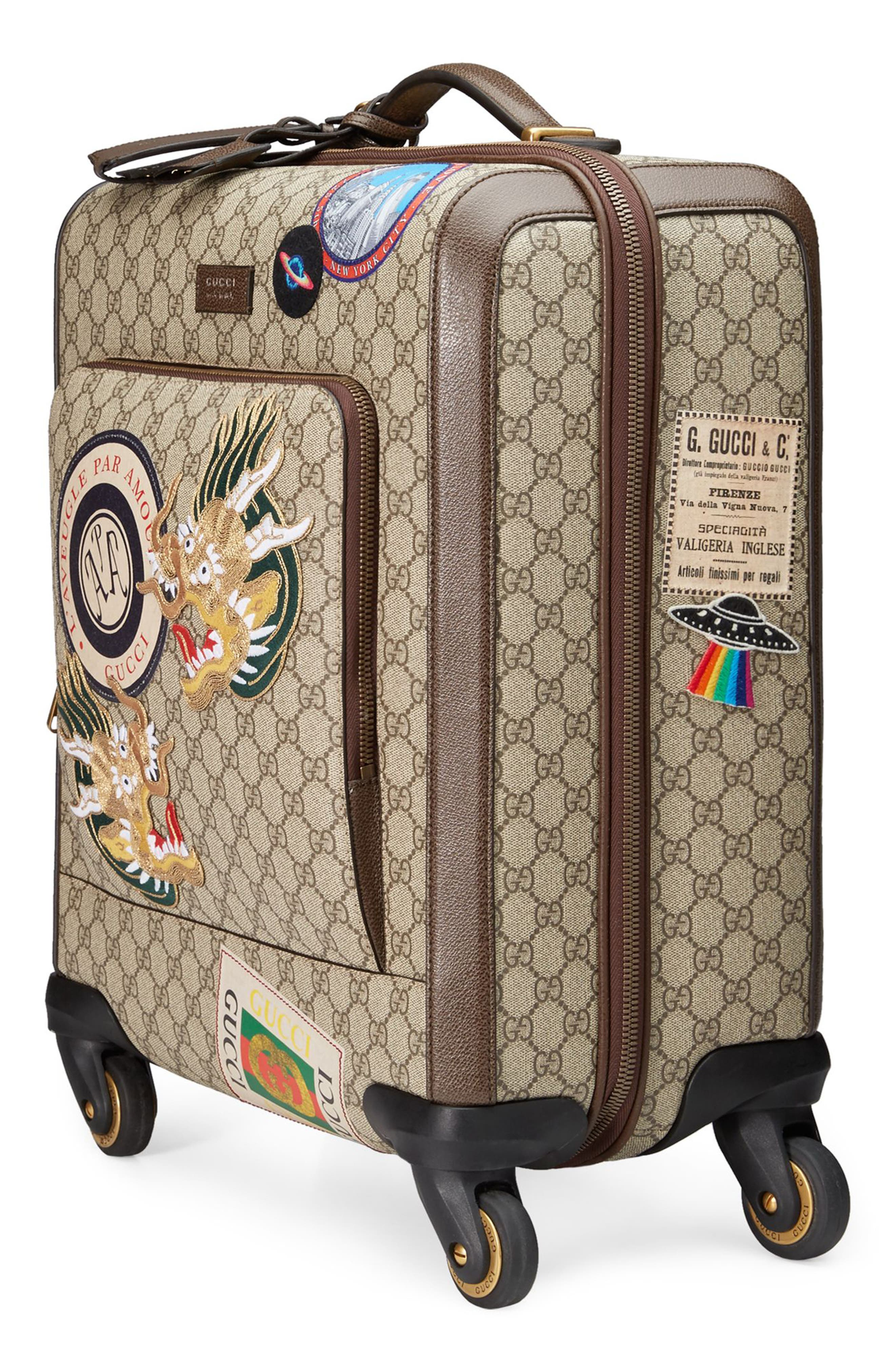 Courier GG Supreme Patches Carry-On,                             Alternate thumbnail 2, color,                             Beige