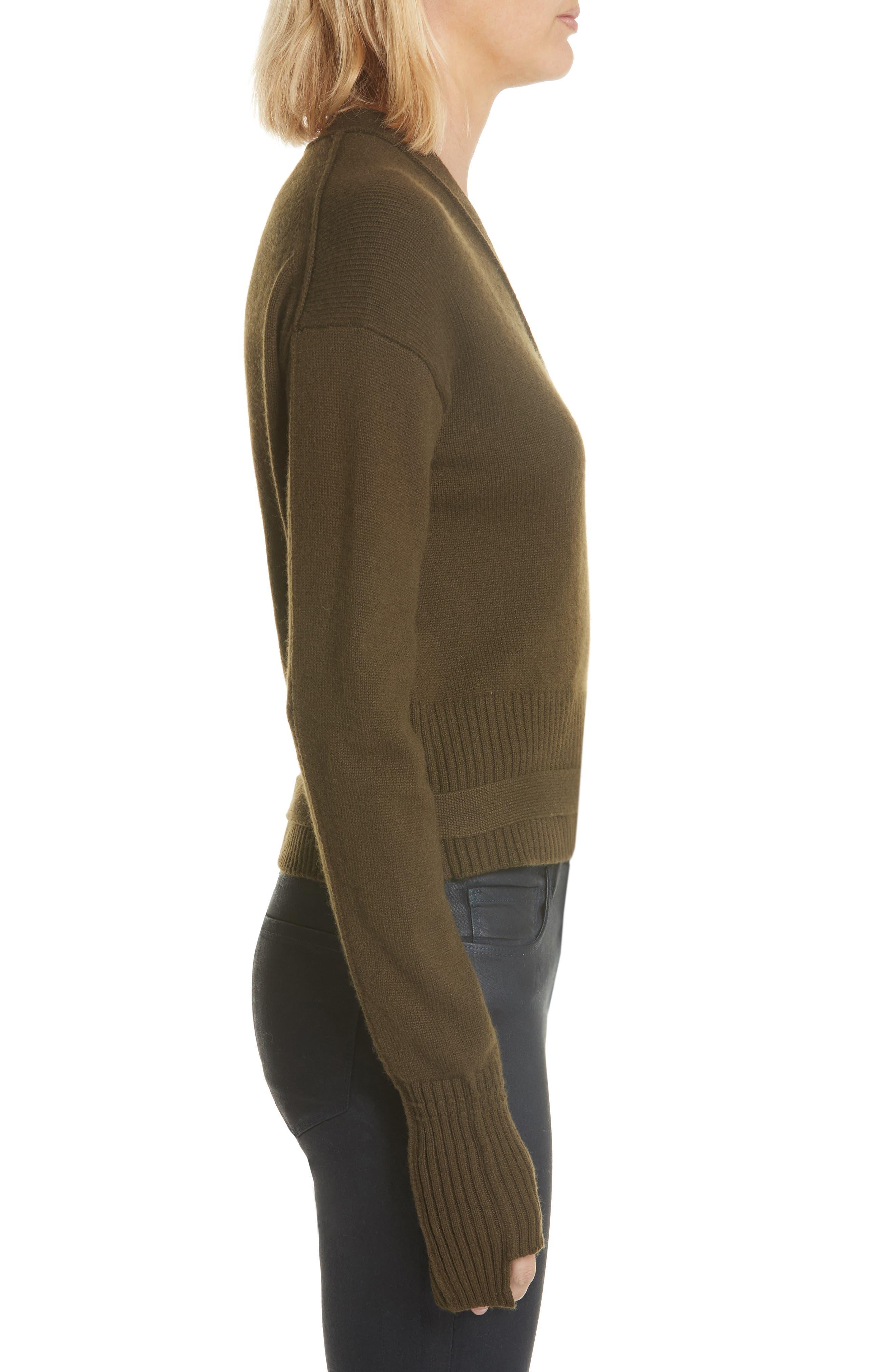 Cashmere Wrap Cardigan,                             Alternate thumbnail 3, color,                             Peat