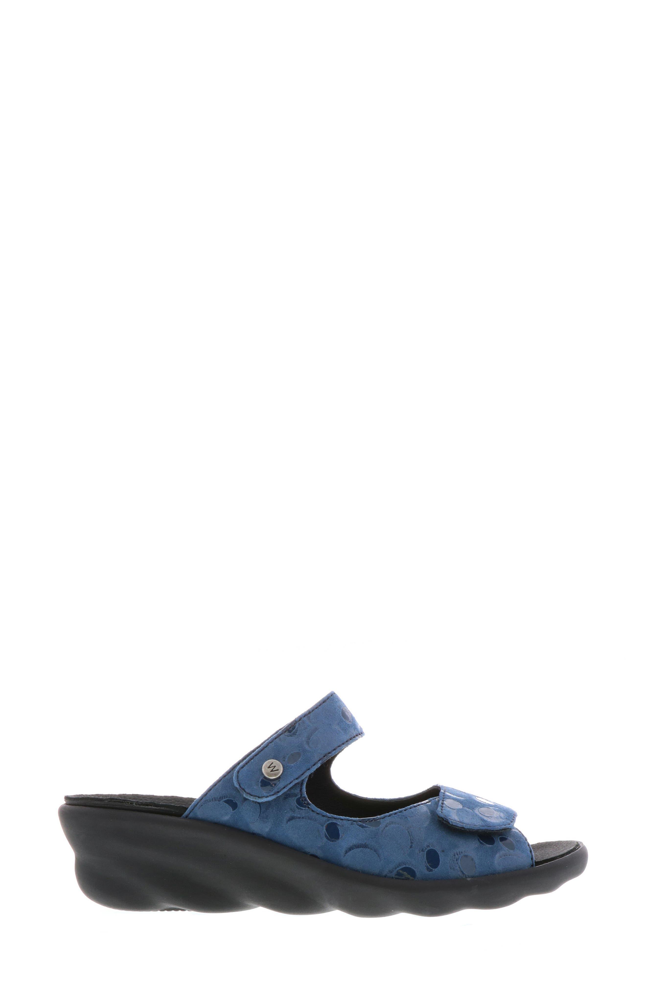 Bolena Slide Sandal,                             Alternate thumbnail 3, color,                             Blue Circle Print