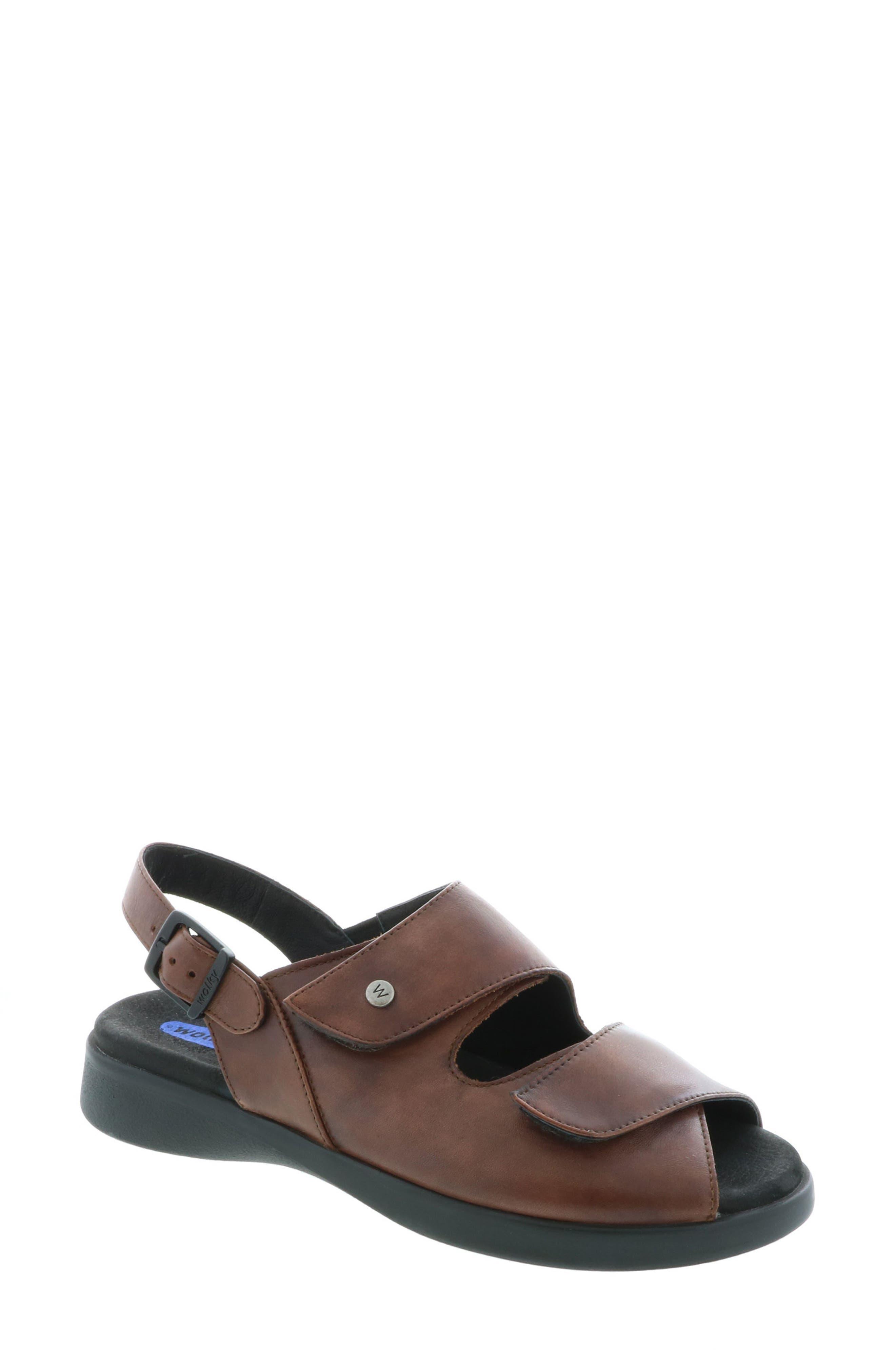 Nimes Sandal,                             Main thumbnail 1, color,                             Cognac Faux Leather
