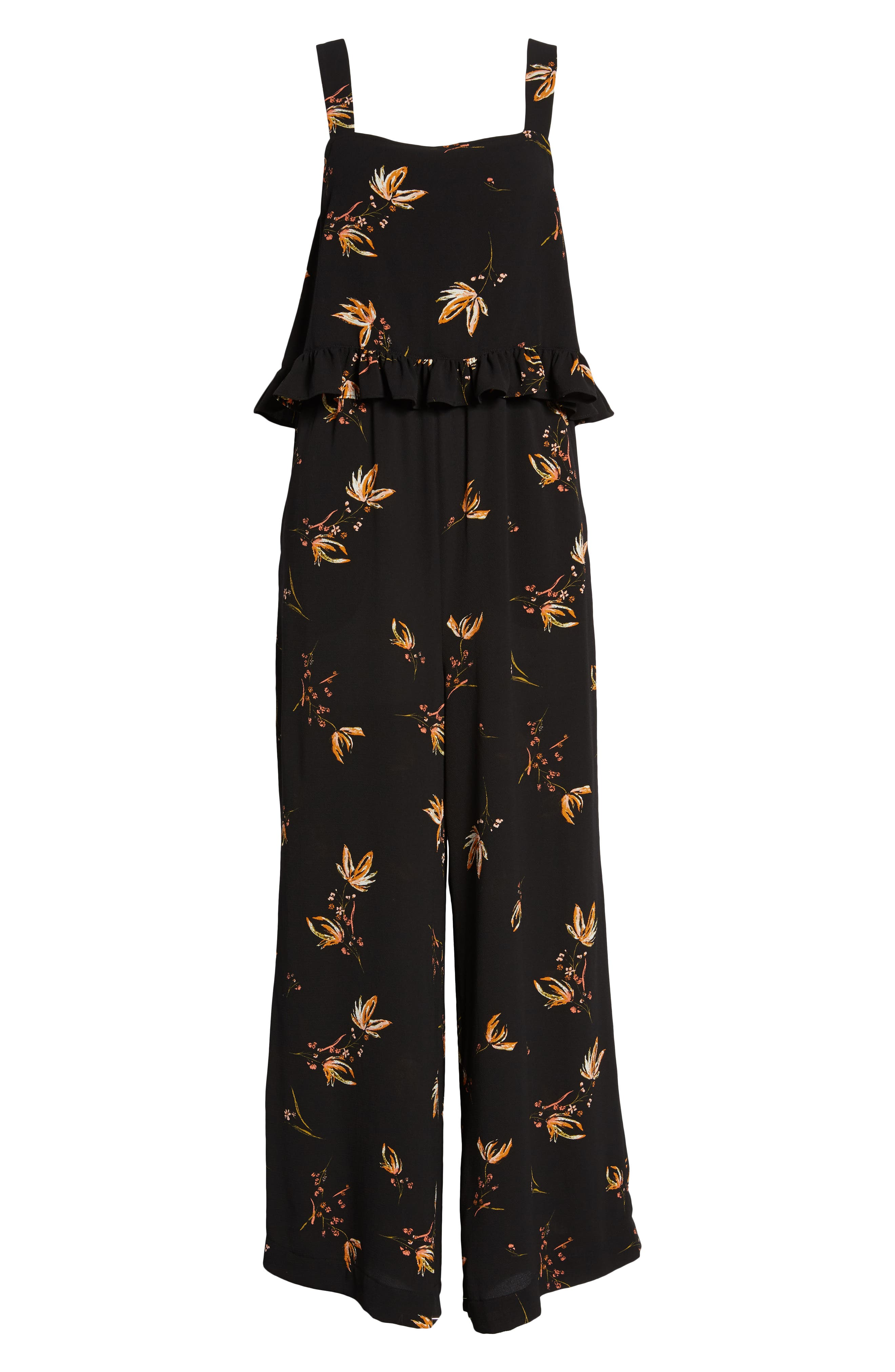 Ruffled Floral Print Jumpsuit,                             Alternate thumbnail 7, color,                             Black Camilla Spaced Floral