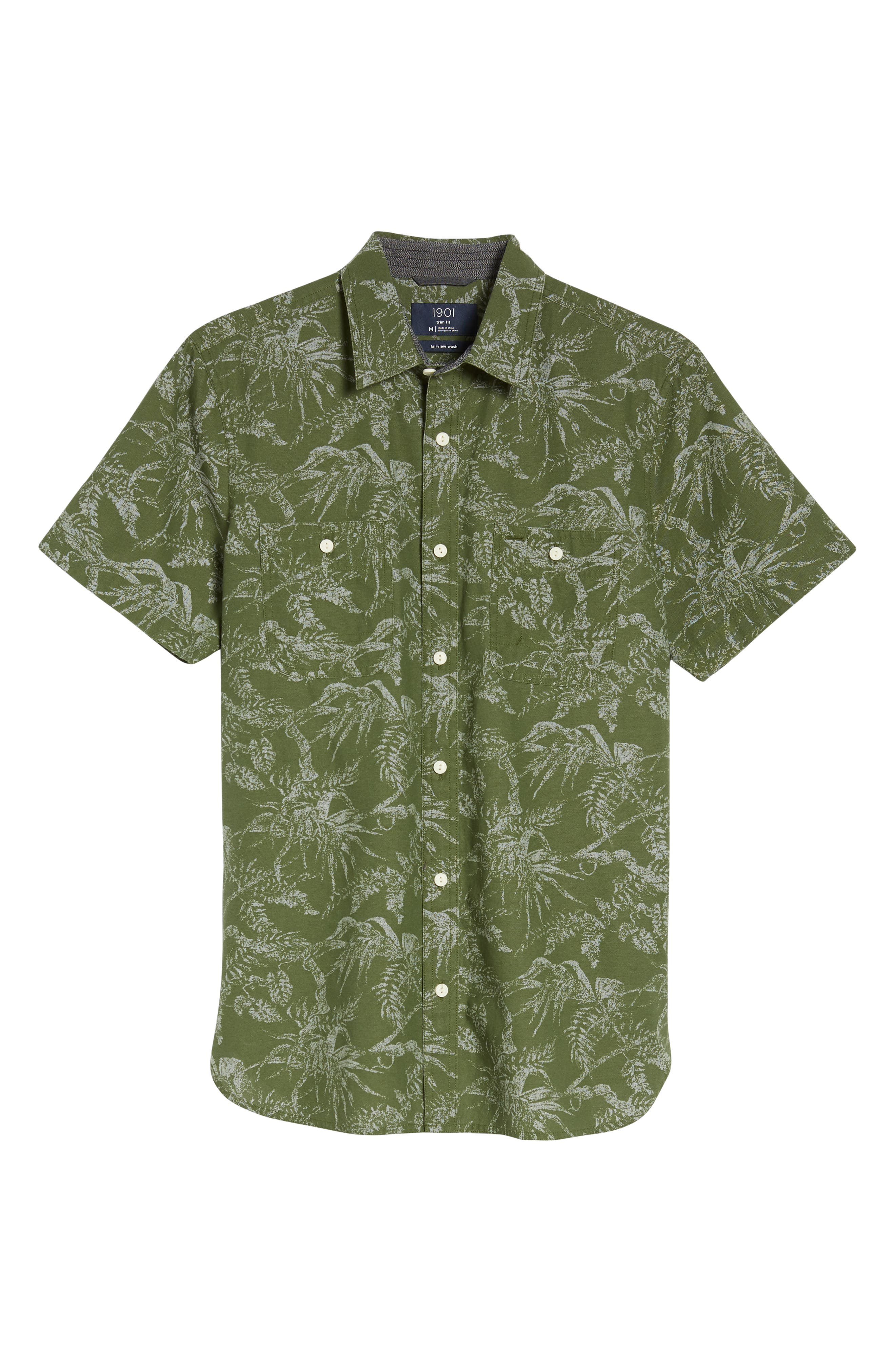 Workwear Trim Fit Leaf Print Sport Shirt,                             Alternate thumbnail 6, color,                             Green Hedge Chambray Palms