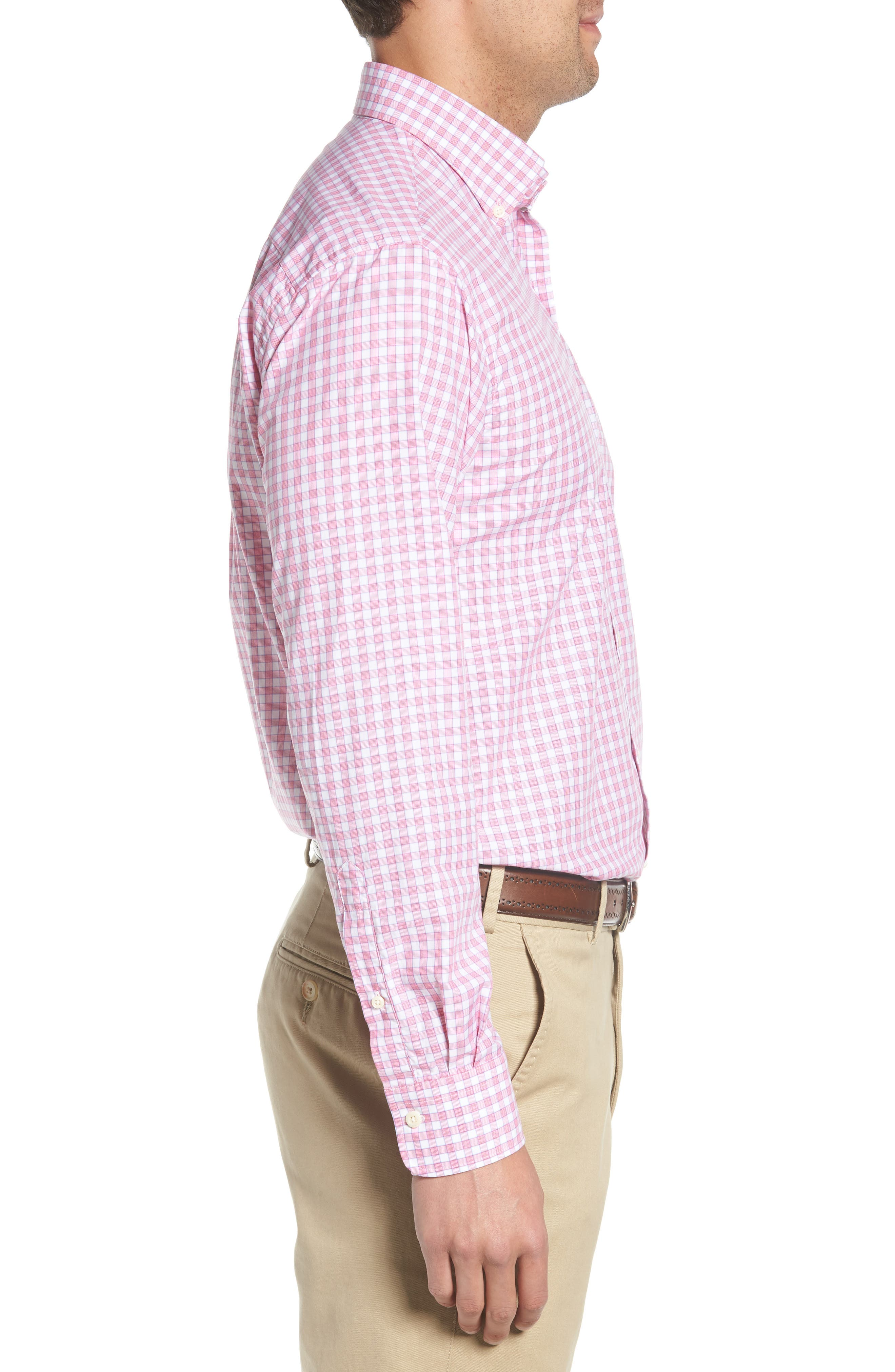Crown Finish Marsh Regular Fit Check Sport Shirt,                             Alternate thumbnail 4, color,                             Mambo Pink