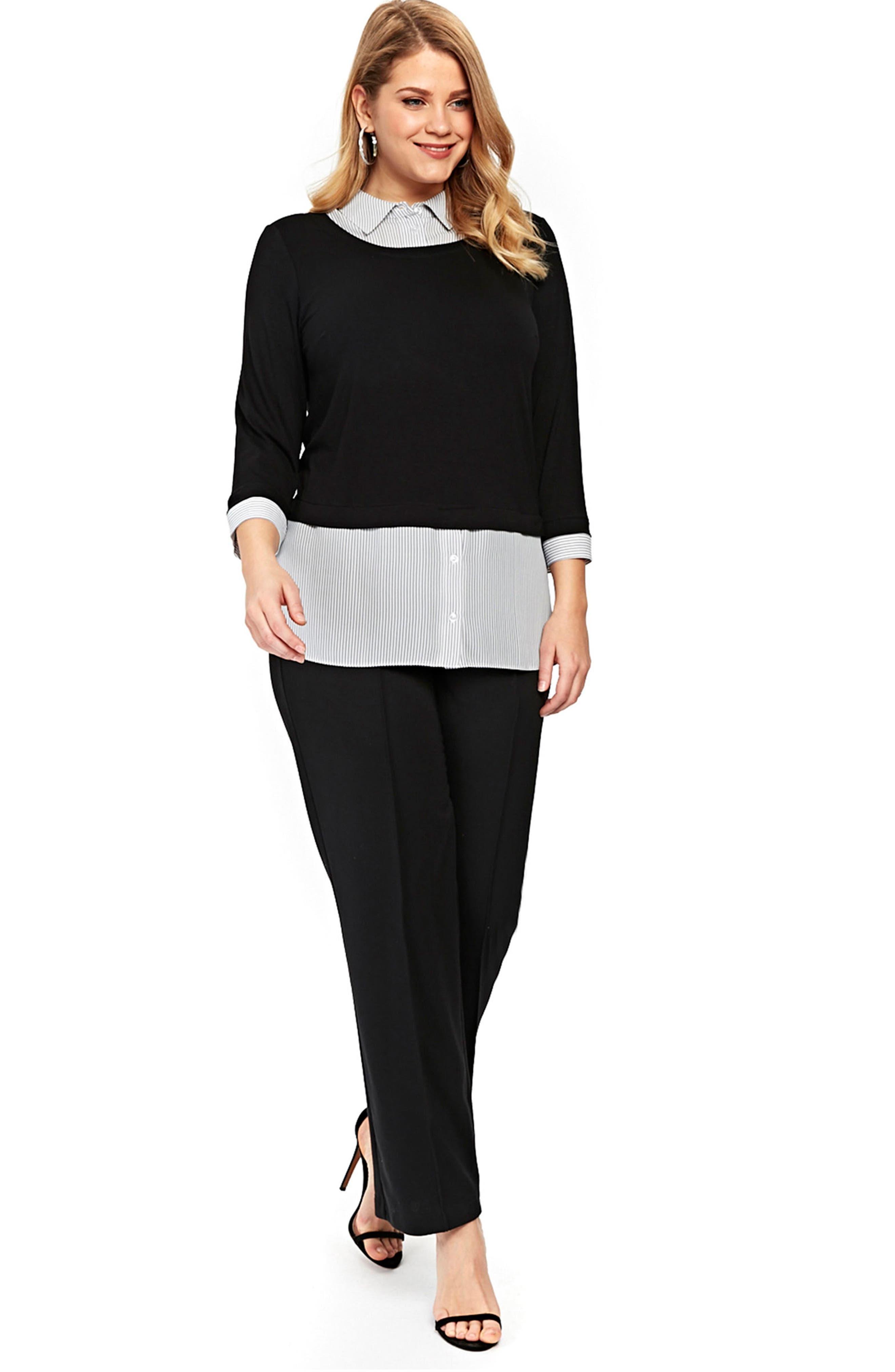 Stripe & Solid 2-in-1 Shirt,                             Alternate thumbnail 2, color,                             Dark Multi