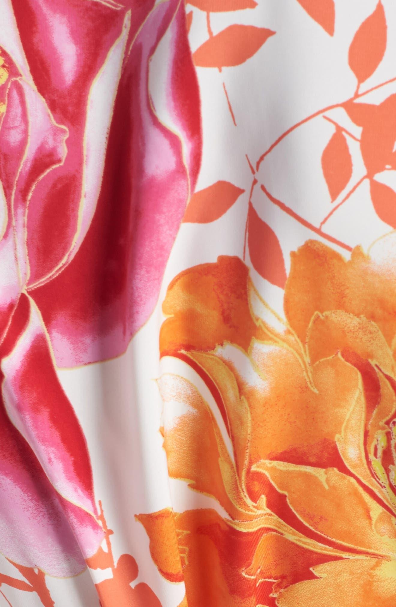 Bali Floral Print Robe,                             Alternate thumbnail 5, color,                             Warm White