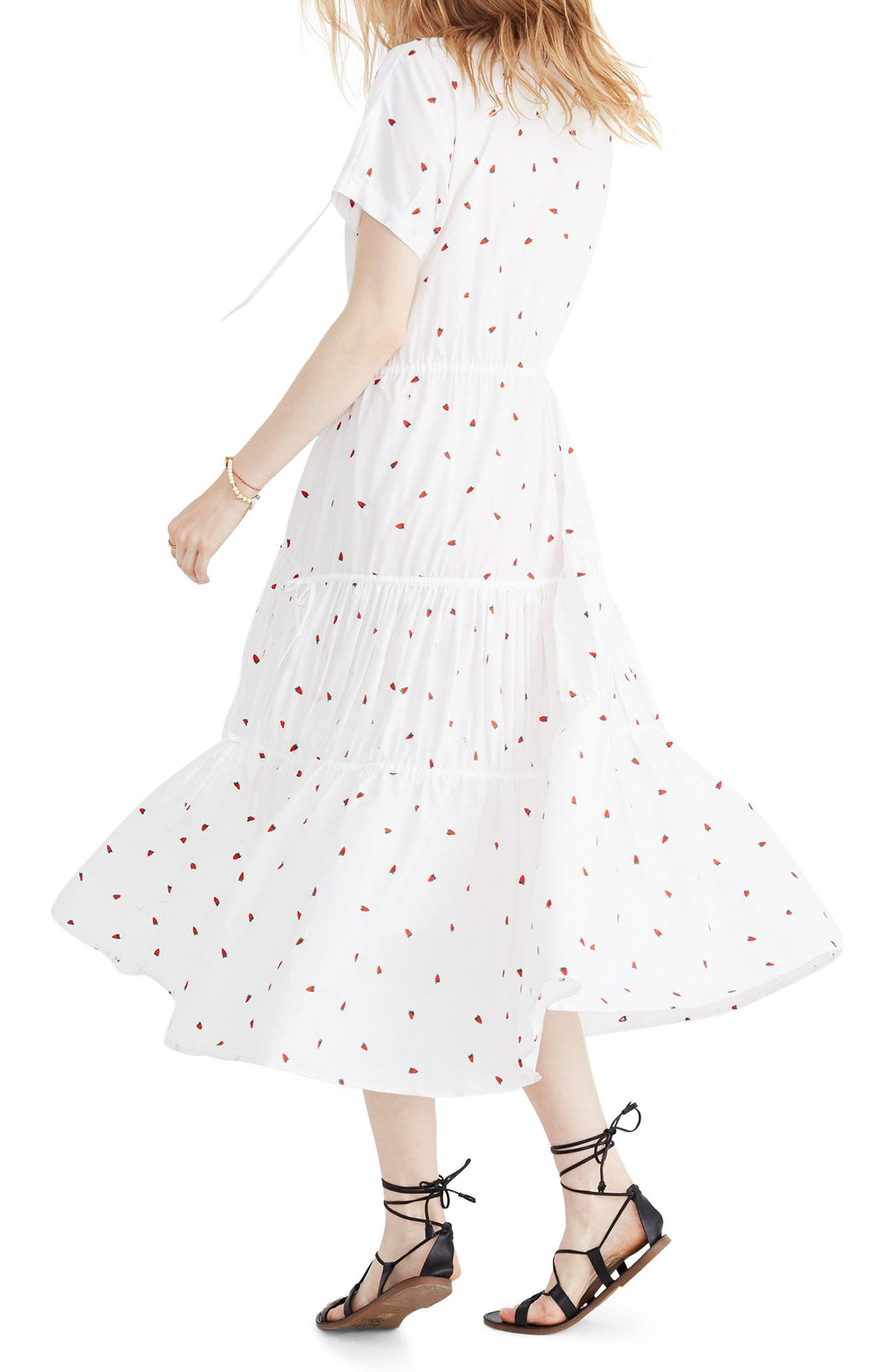 Embroidered Strawberry Tiered Midi Dress,                             Alternate thumbnail 2, color,                             Strawberry Critter White