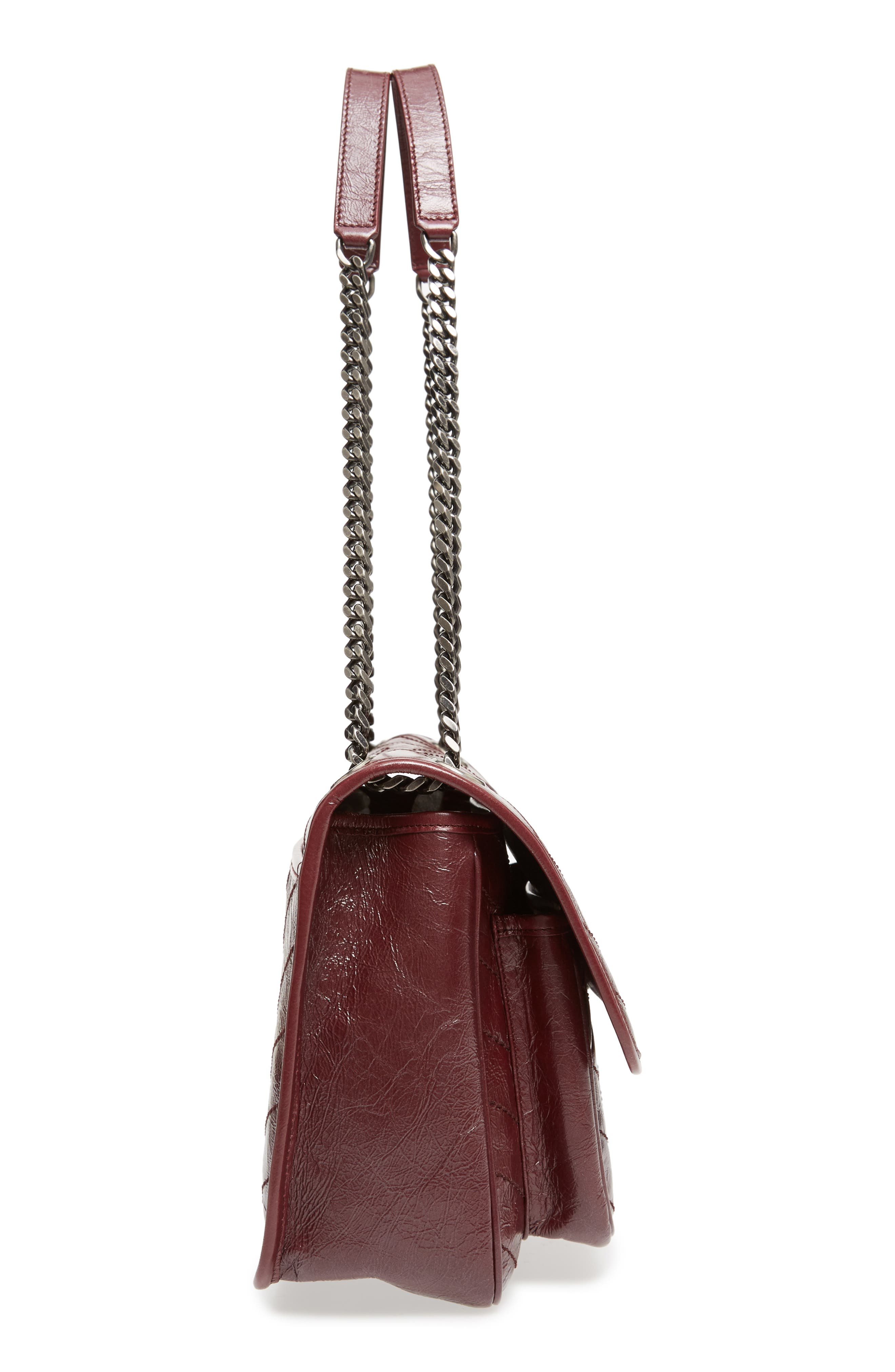 Medium Niki Leather Shoulder Bag,                             Alternate thumbnail 5, color,                             Rouge Legion