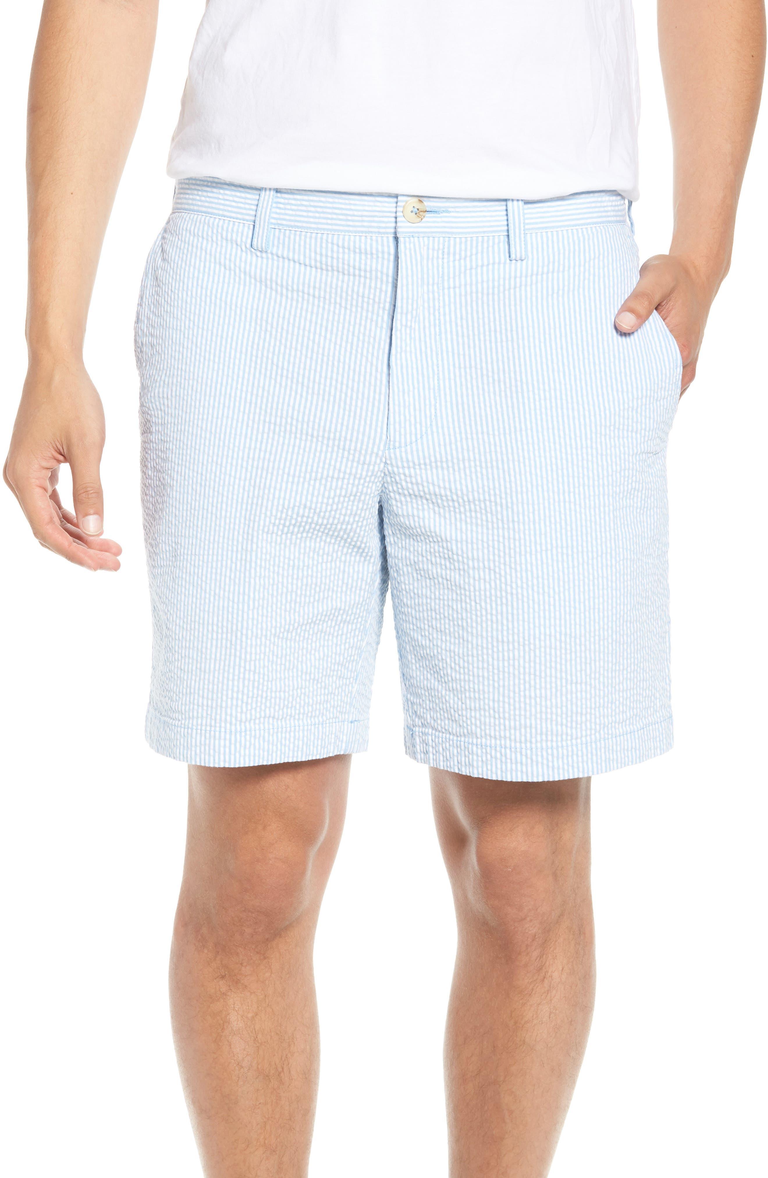 Stripe Seersucker Shorts,                         Main,                         color, Ocean Channel