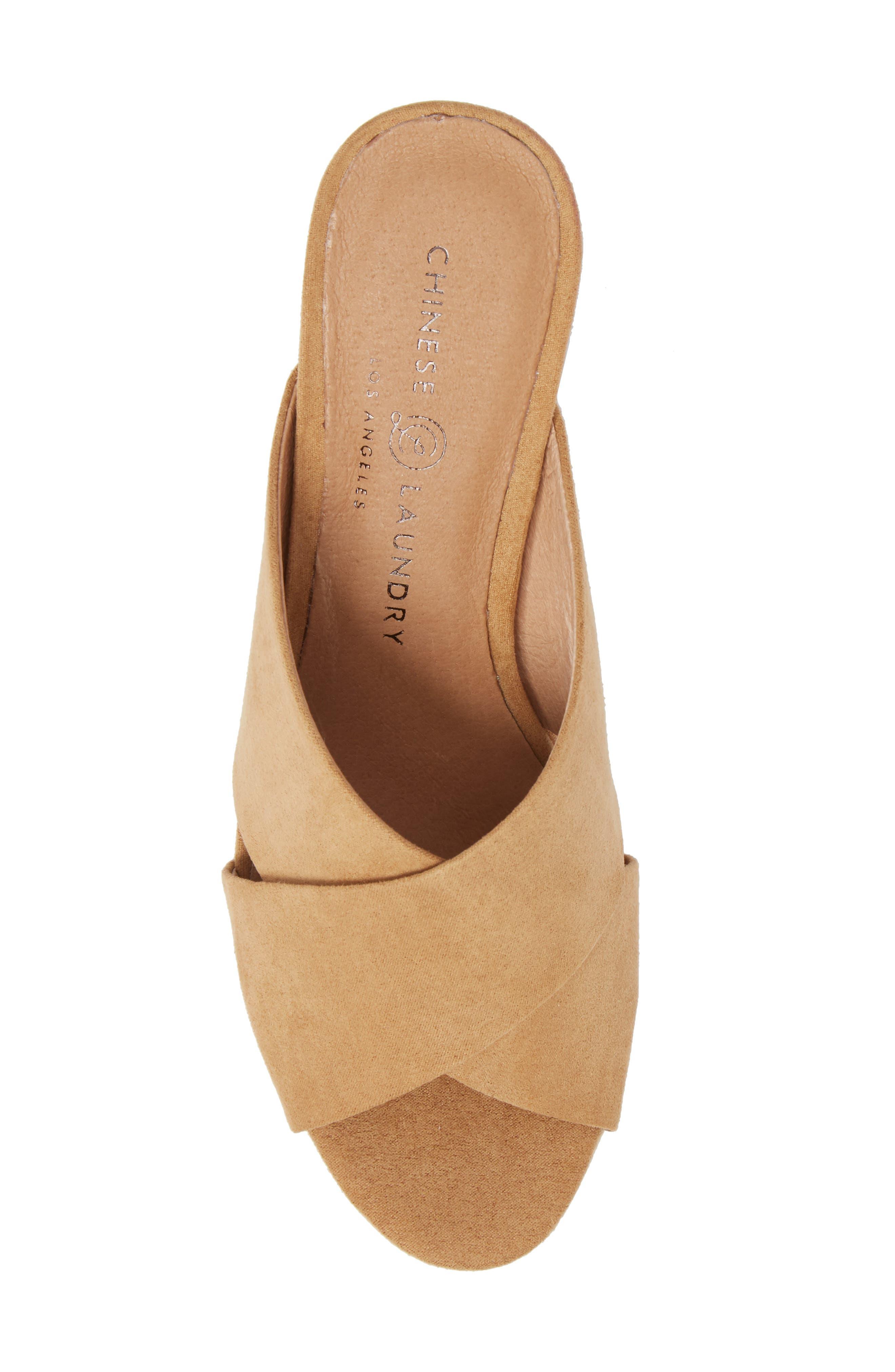 Teagan Cross Strap Platform Sandal,                             Alternate thumbnail 5, color,                             Camel