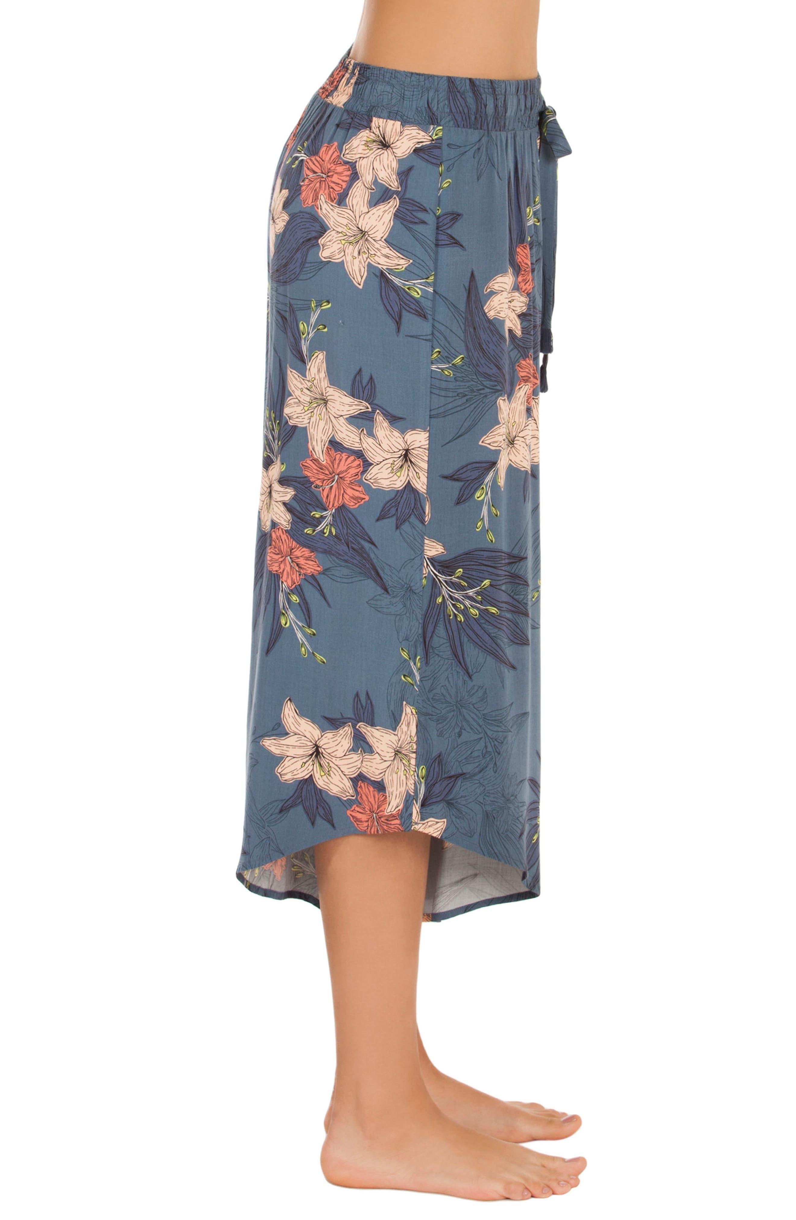Floral Crop Pajama Pants,                             Alternate thumbnail 3, color,                             Blue Floral