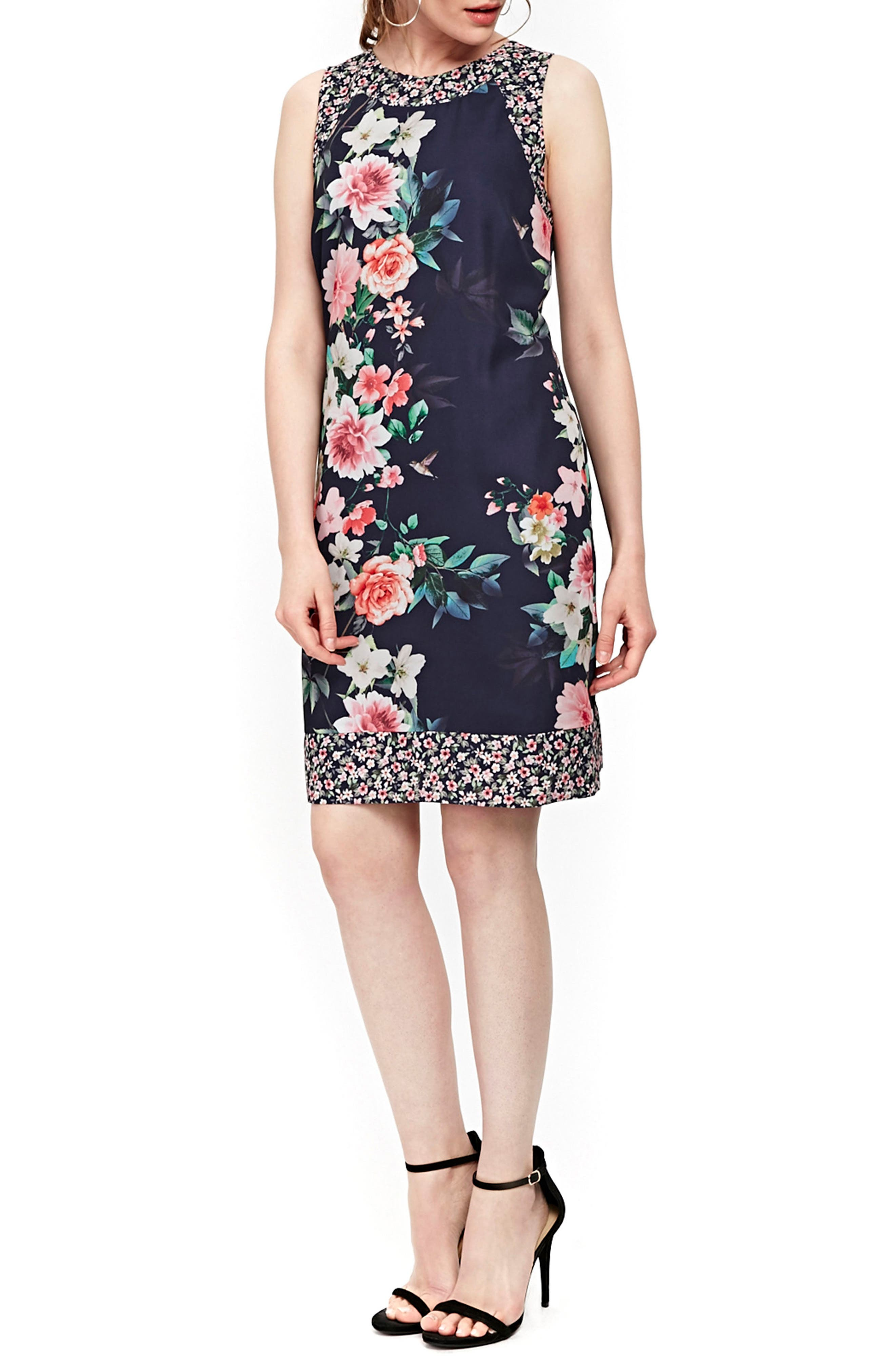 Peony Print Tank Dress,                             Main thumbnail 1, color,                             Navy Blue