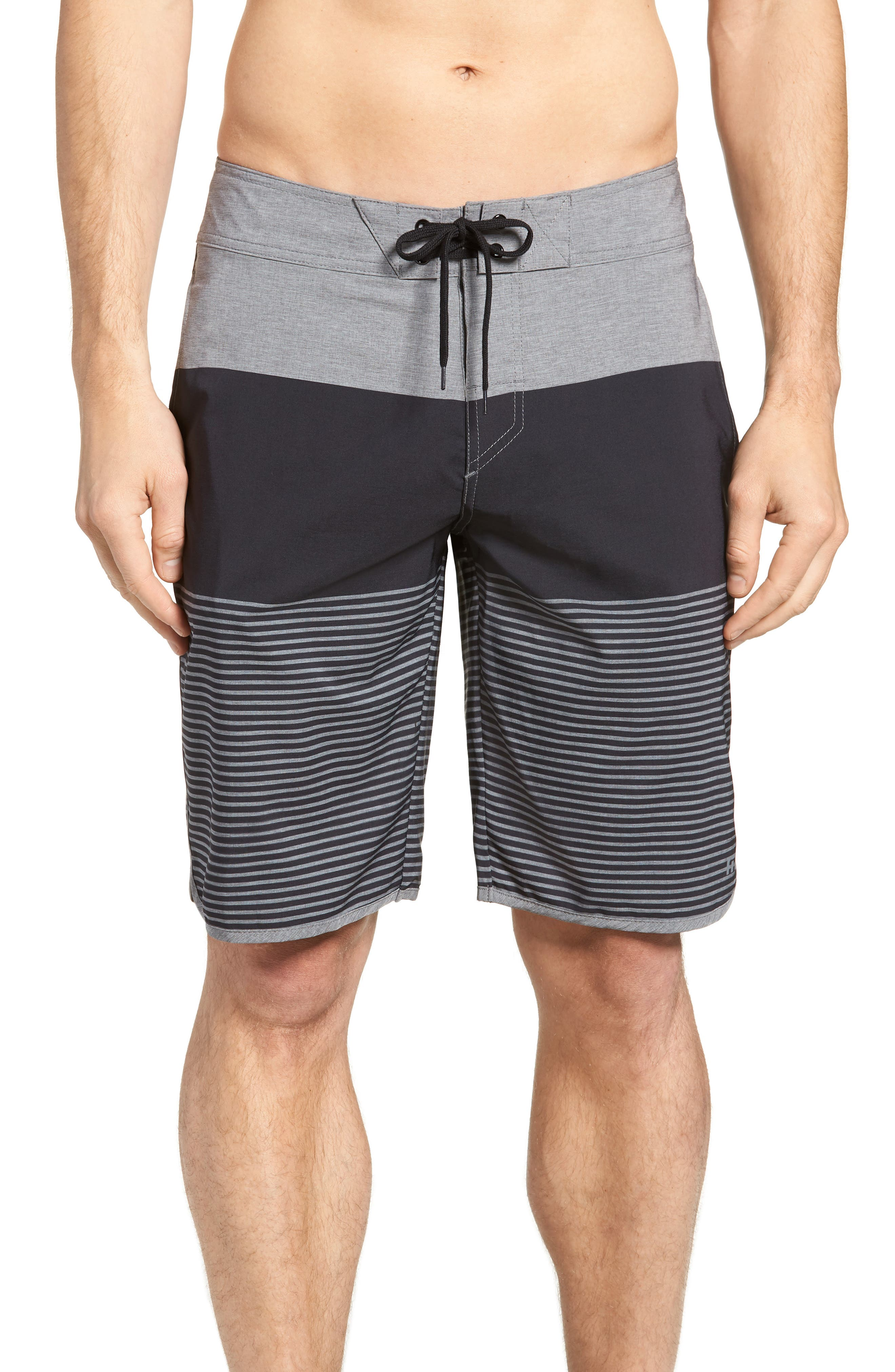 Claim It Regular Fit Board Shorts,                         Main,                         color, Heather Black