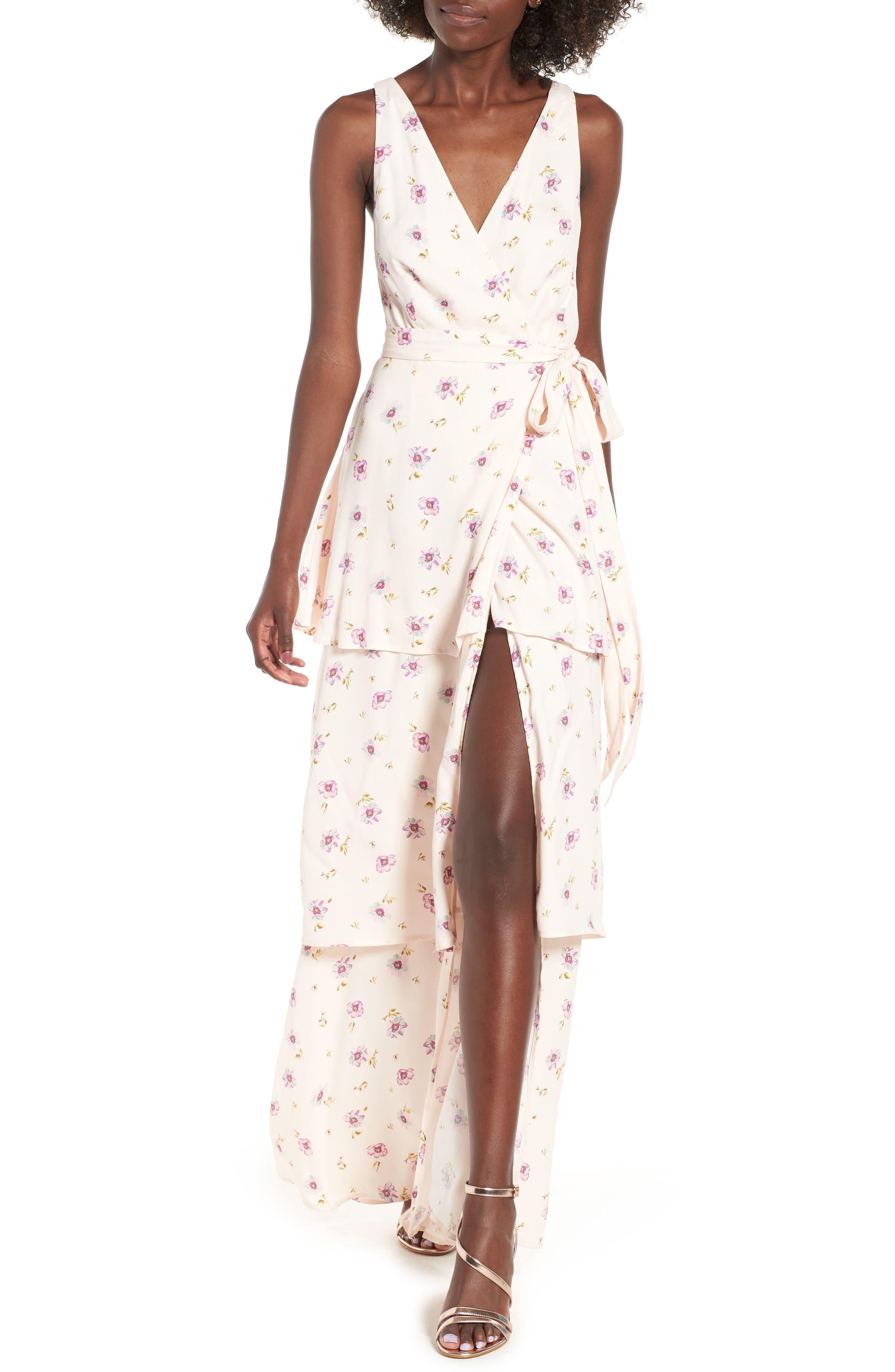 Rosa Wrap Maxi Dress,                             Main thumbnail 1, color,                             Lilac Floral