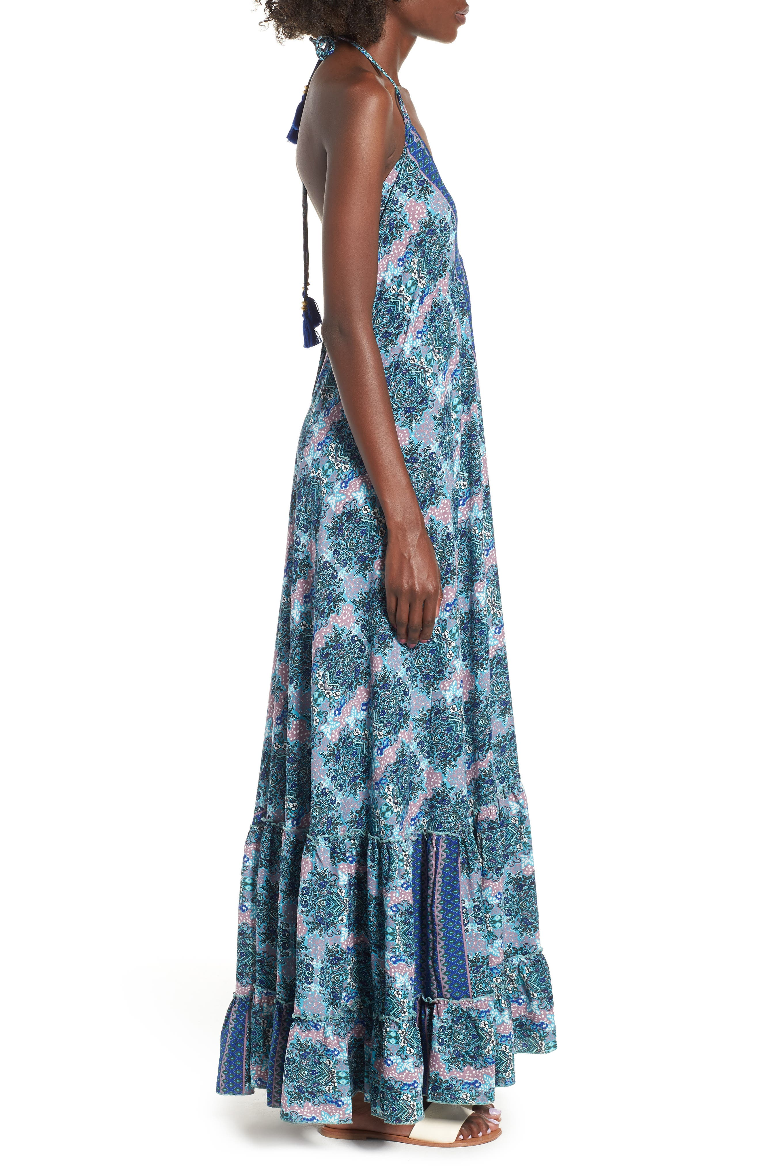 Poetic Dreams Halter Maxi Dress,                             Alternate thumbnail 4, color,                             Blue
