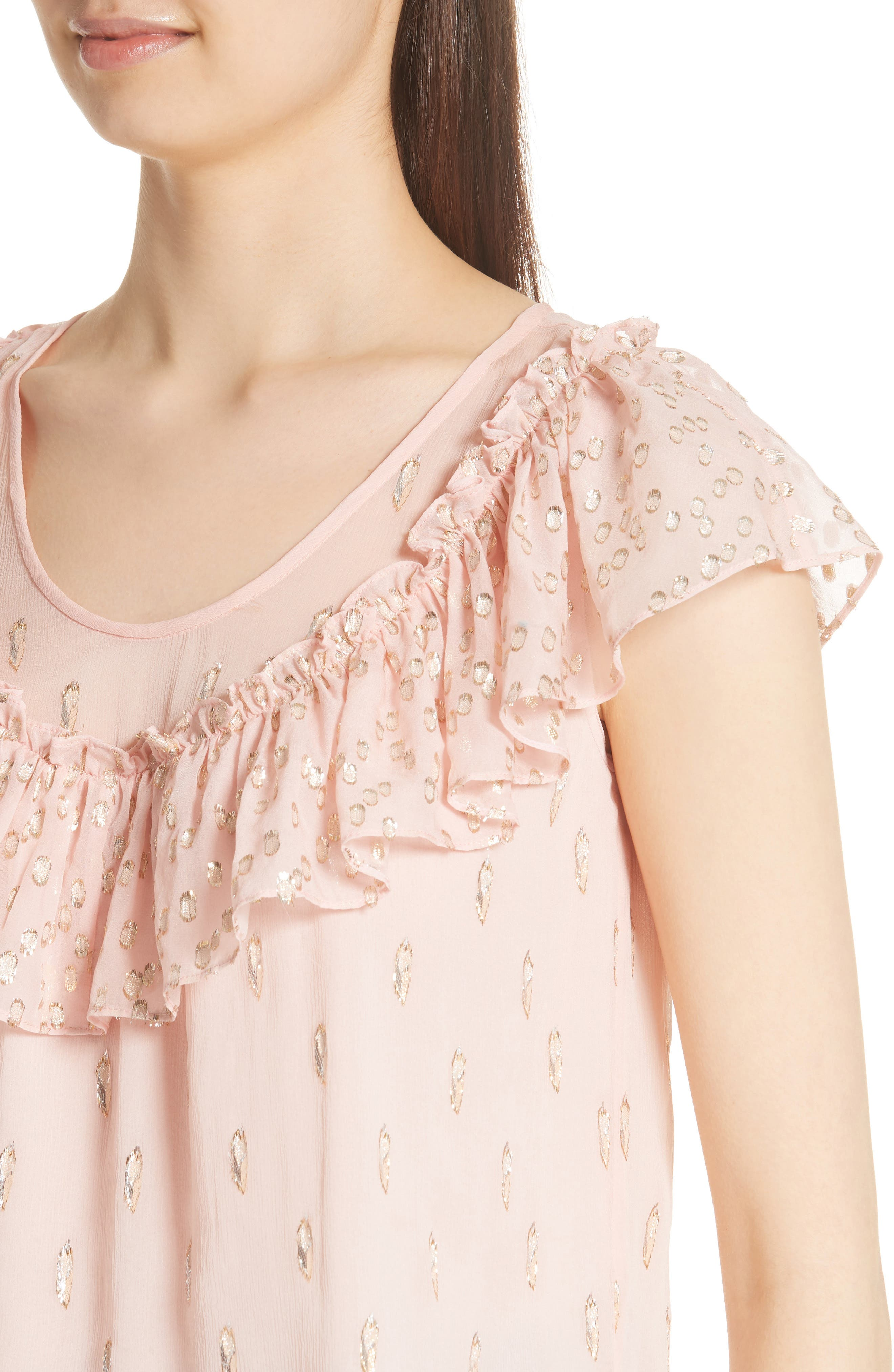 Metallic Fille Coupé Ruffle Silk Top,                             Alternate thumbnail 4, color,                             Powder Pink