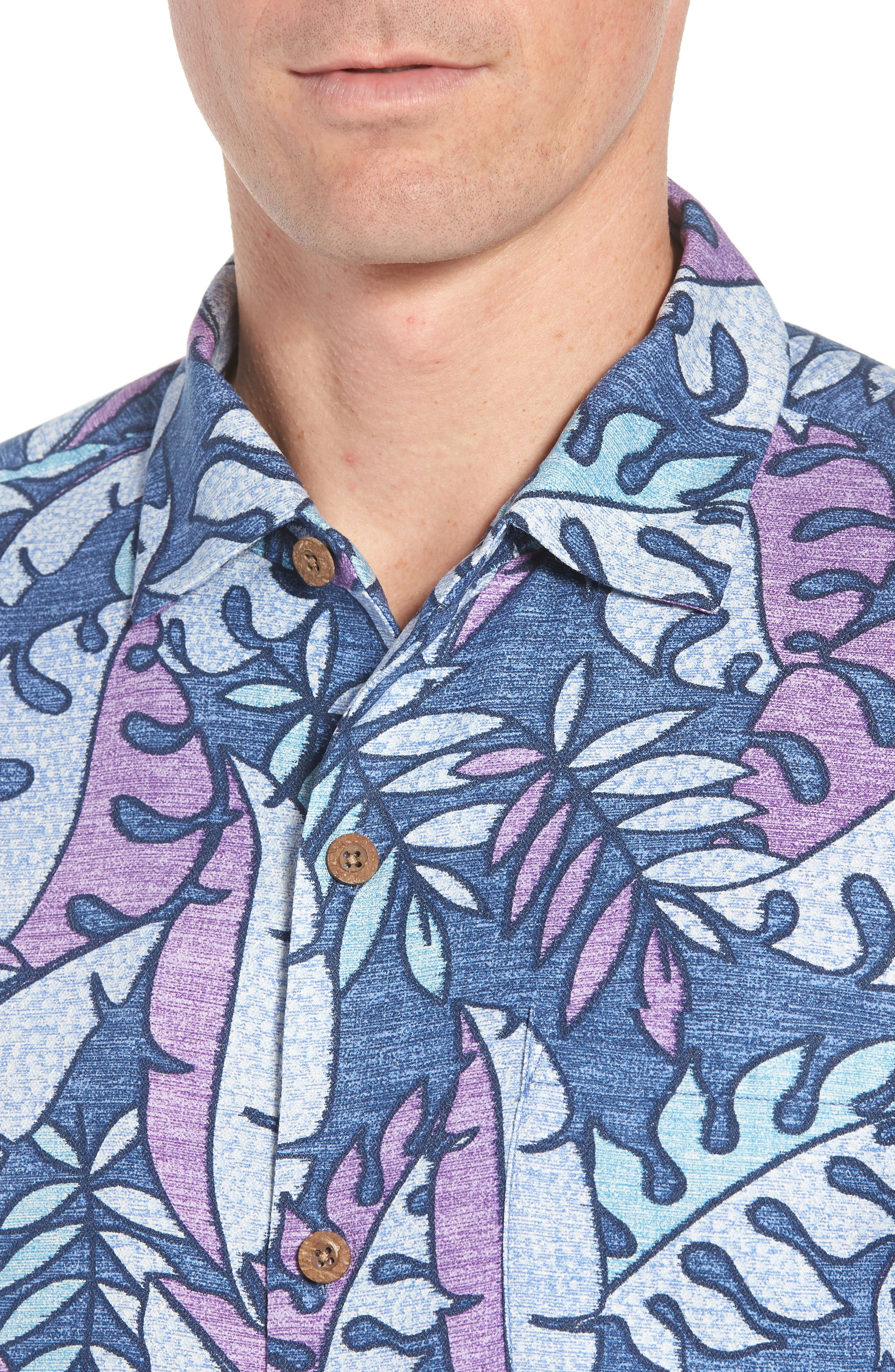 Mateo Fronds Silk Blend Camp Shirt,                             Alternate thumbnail 2, color,                             Ocean Deep