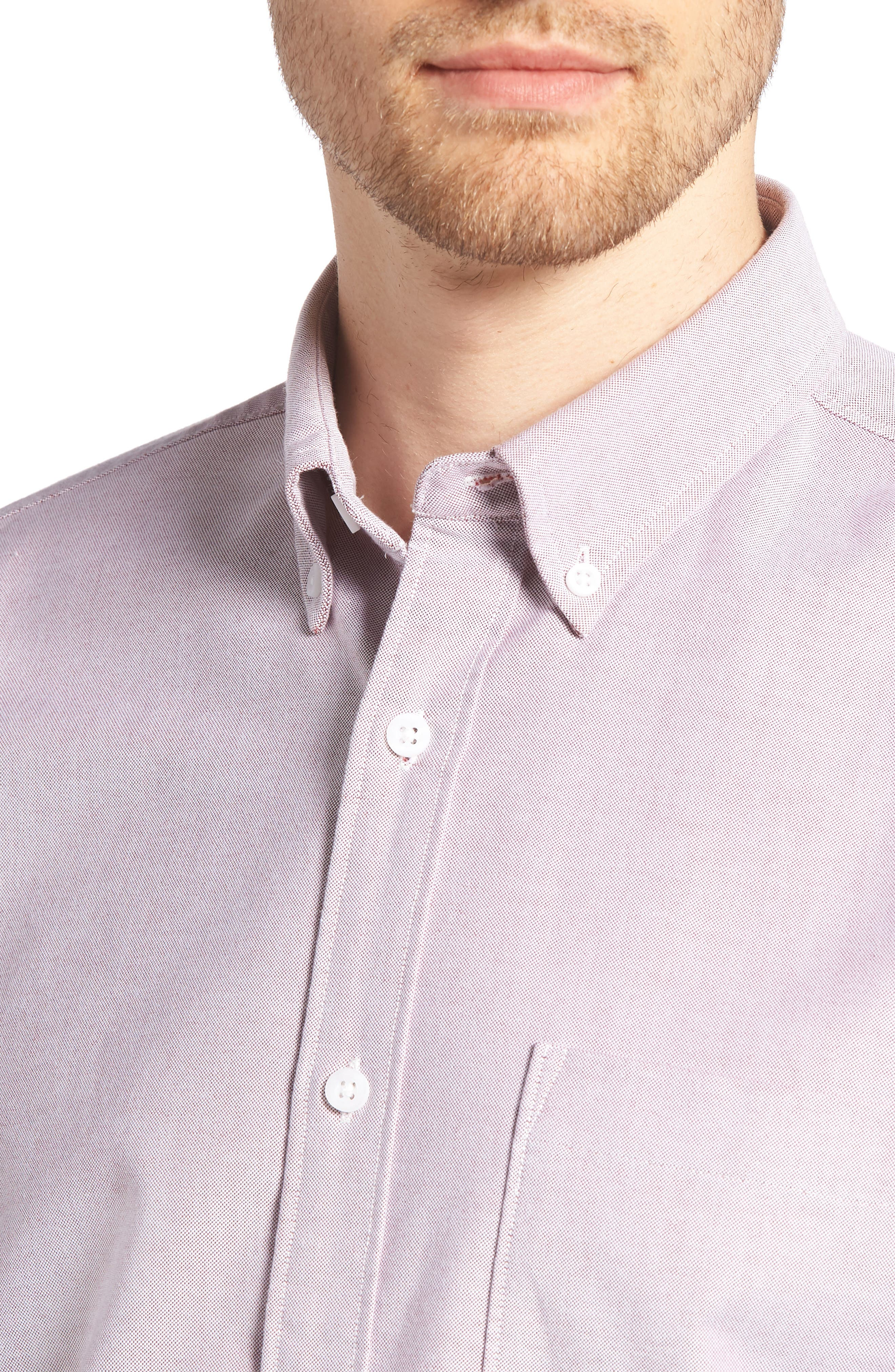 Trim Fit Washed Oxford Shirt,                             Alternate thumbnail 2, color,                             Burgundy London Oxford