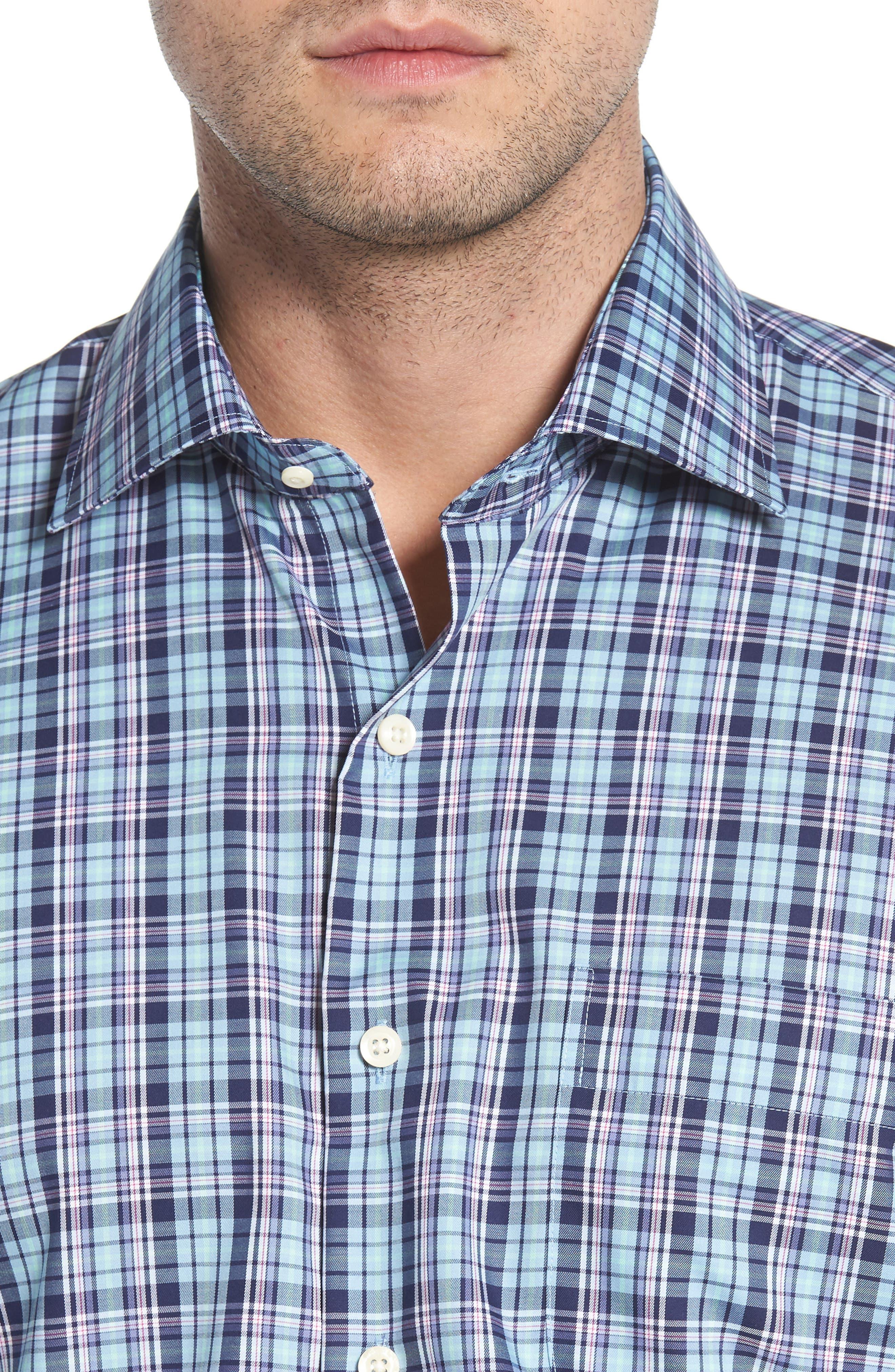 Crown Ease Laguna Plaid Sport Shirt,                             Alternate thumbnail 2, color,                             Tar Heel Blue