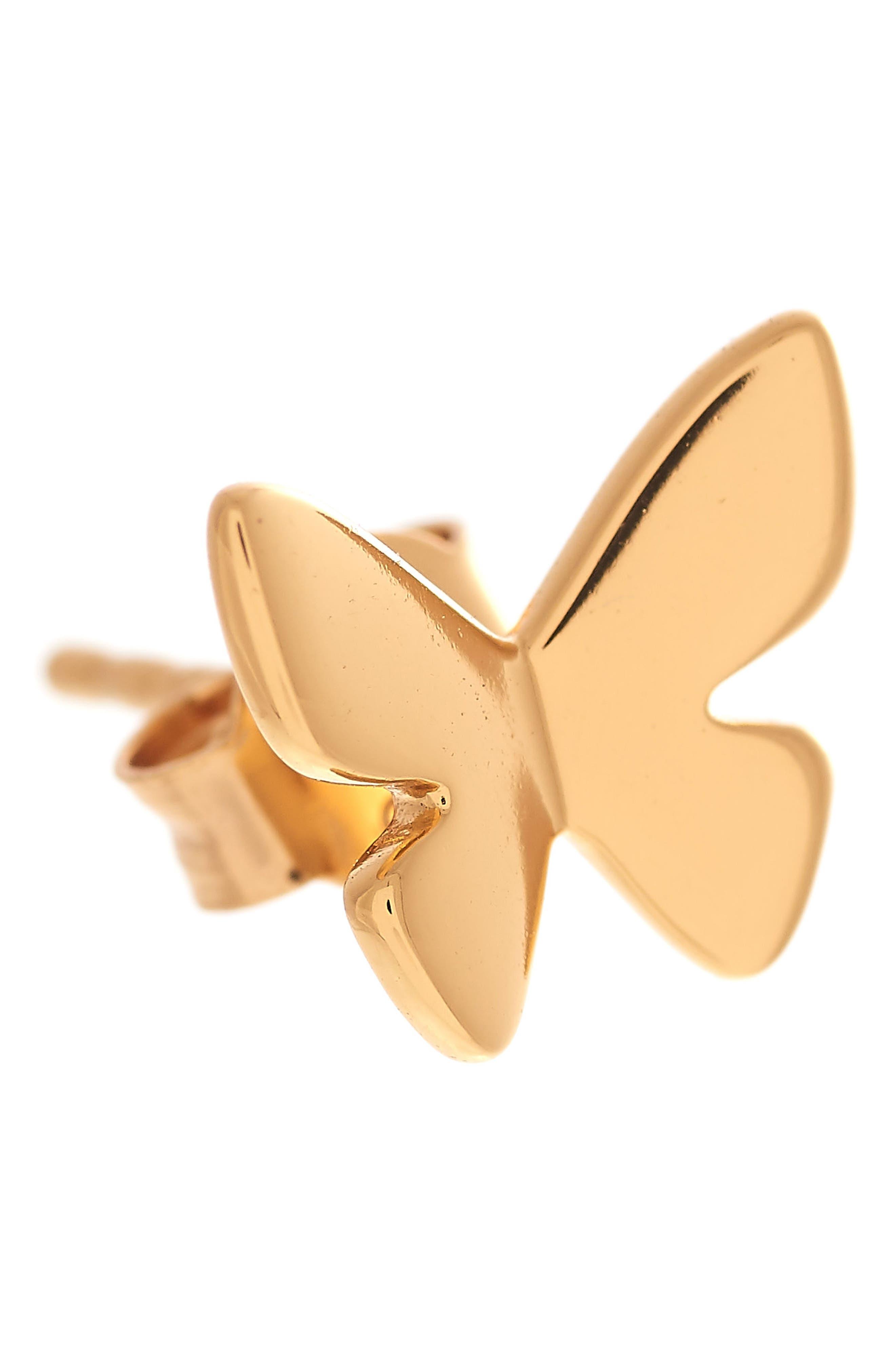 Social Butterfly Stud Earrings,                             Alternate thumbnail 2, color,                             Gold