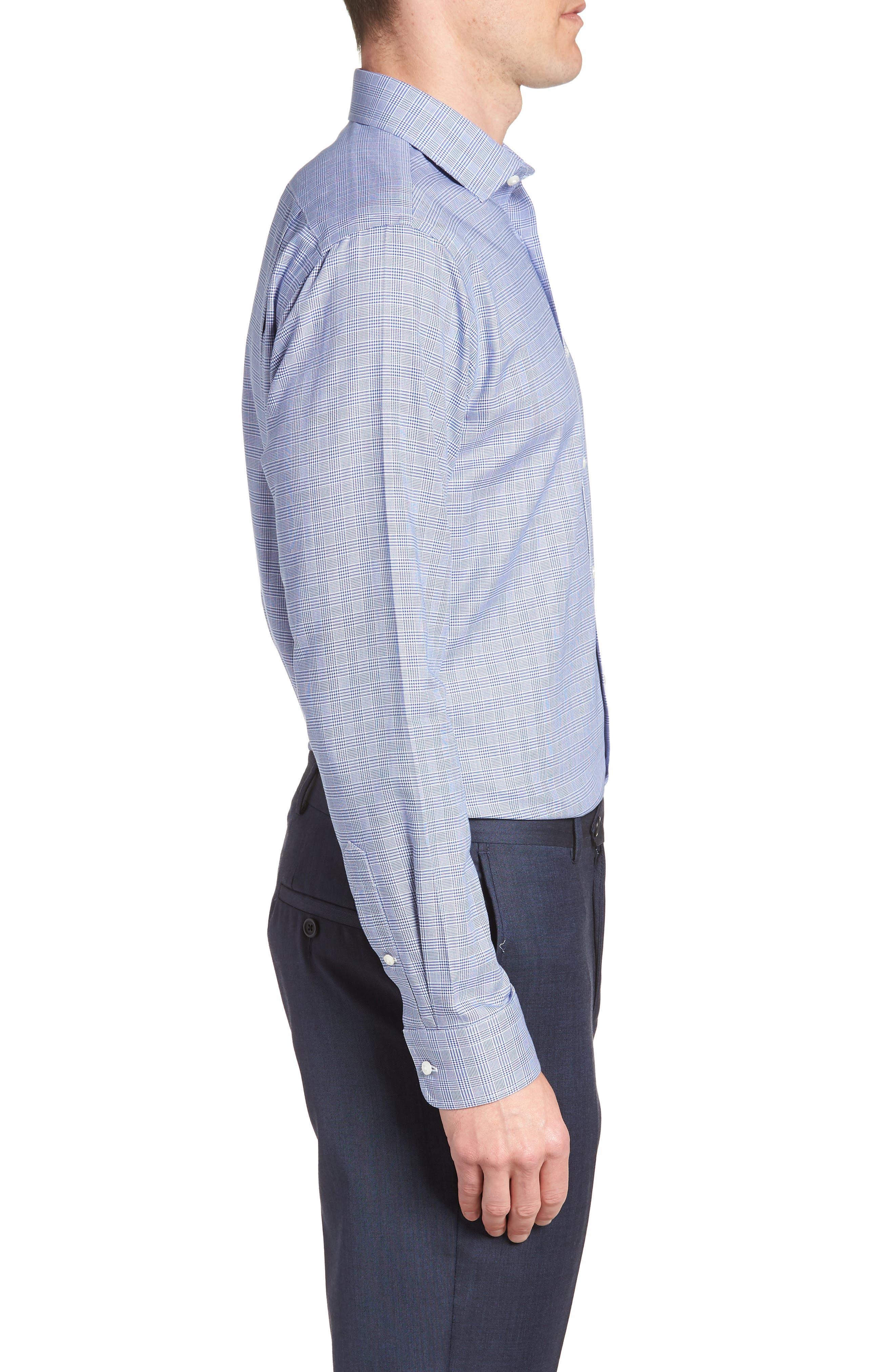 Smartcare<sup>™</sup> Trim Fit Herringbone Dress Shirt,                             Alternate thumbnail 4, color,                             Blue Marine