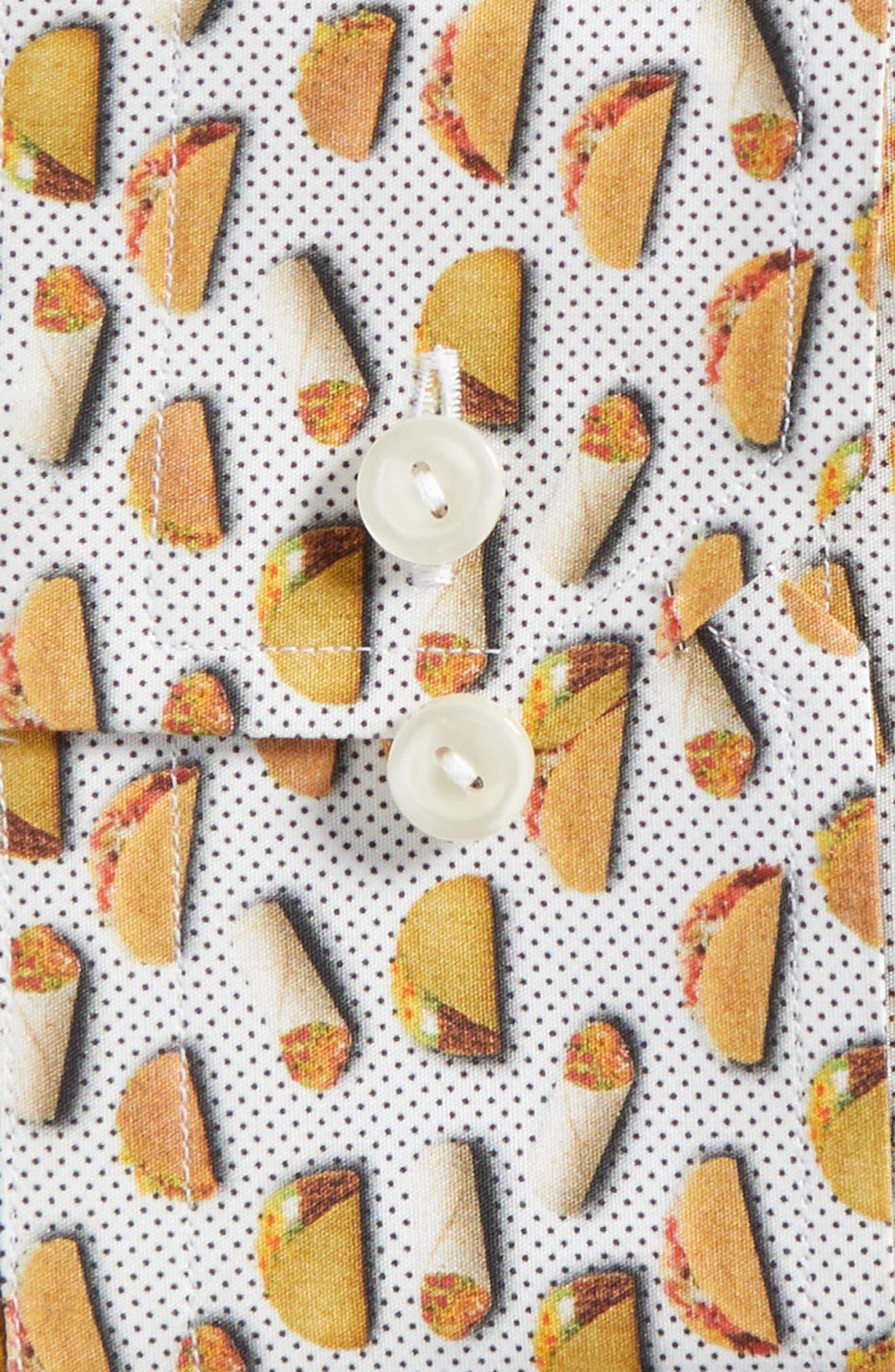 Slim Fit Taco Print Dress Shirt,                             Alternate thumbnail 5, color,                             White